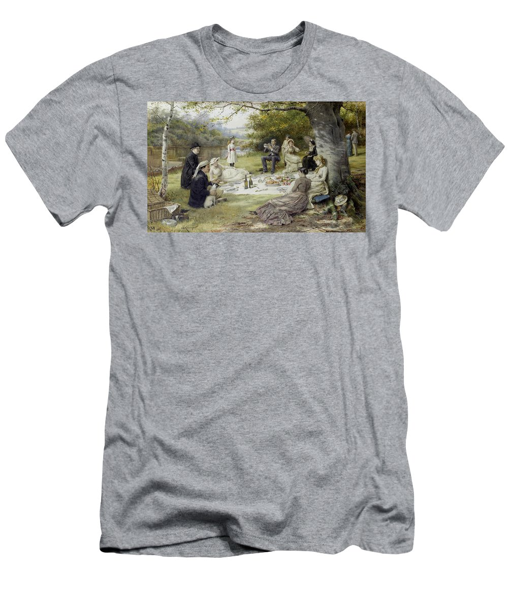 George Goodwin Kilburne Men's T-Shirt (Athletic Fit) featuring the painting The Picnic by MotionAge Designs