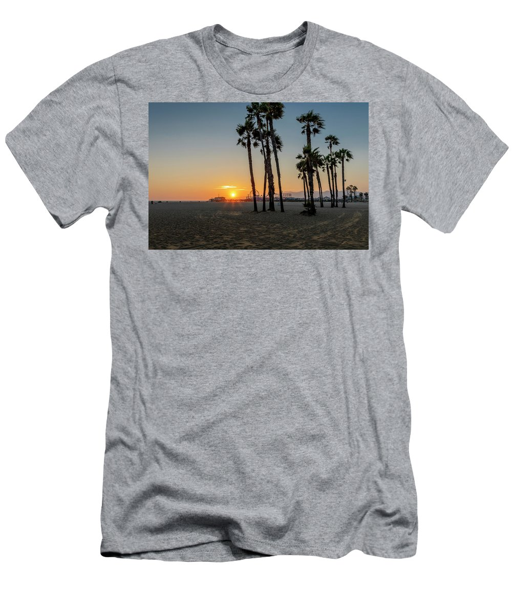 Santa Monica Pier Men's T-Shirt (Athletic Fit) featuring the photograph The Pier At Sunset by Gene Parks