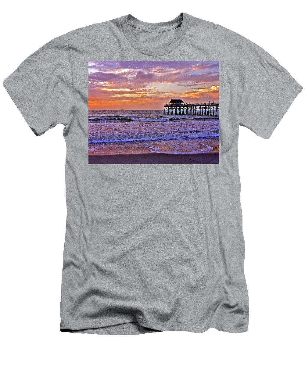 Sunset Men's T-Shirt (Athletic Fit) featuring the photograph The Pier by Scott Mahon