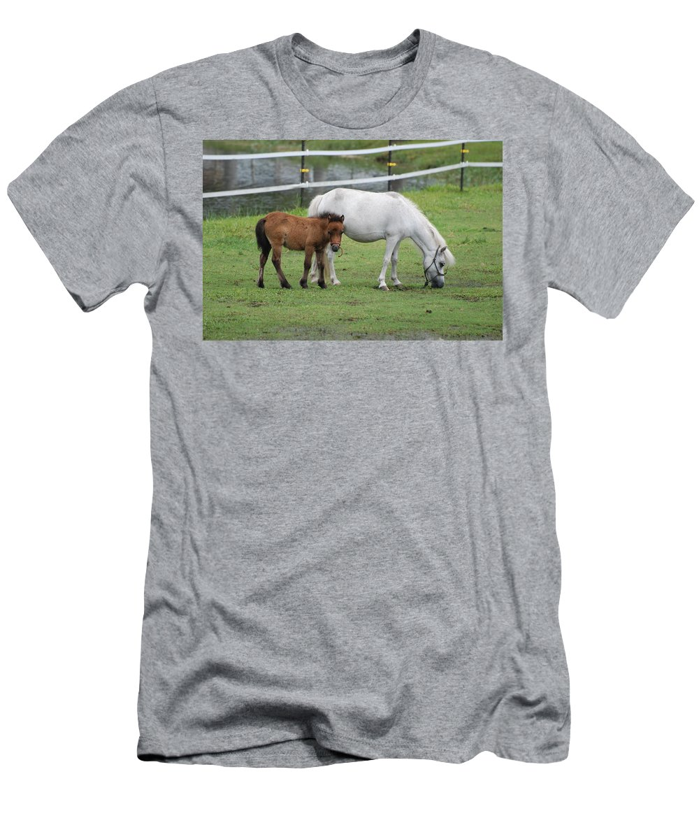Horse Men's T-Shirt (Athletic Fit) featuring the photograph The Ponys by Rob Hans