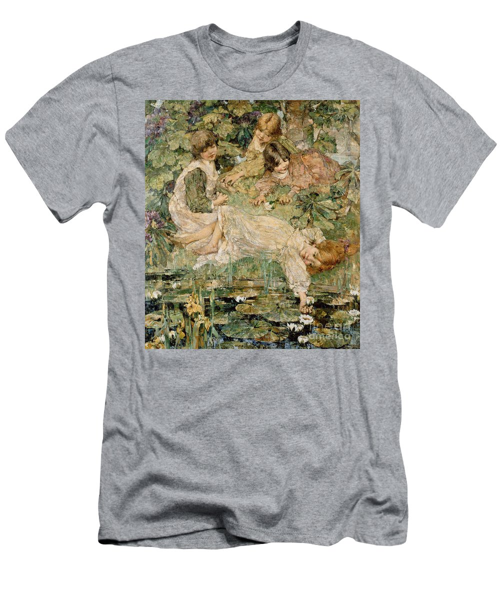 The Men's T-Shirt (Athletic Fit) featuring the painting The Pool by Edward Atkinson Hornel