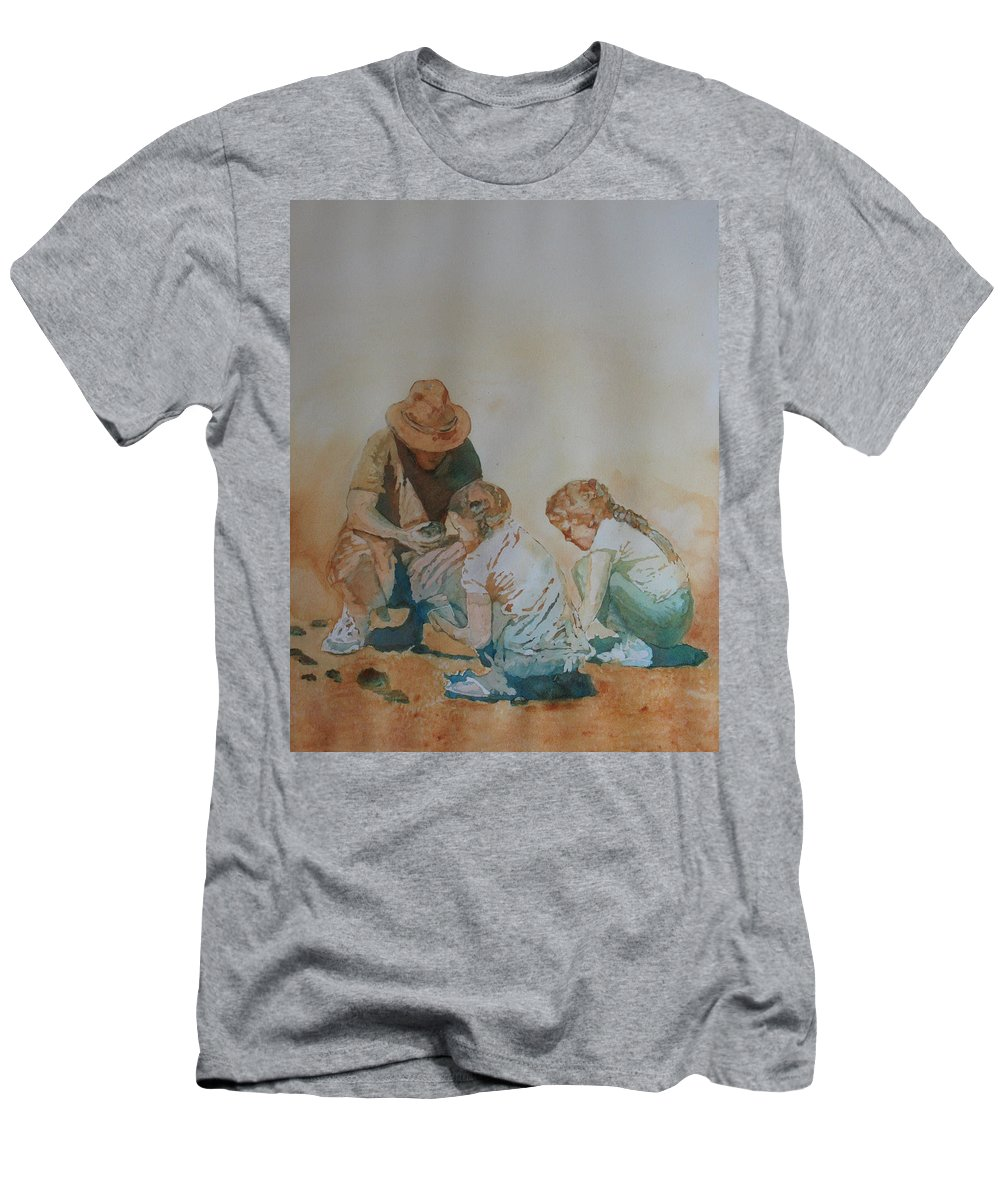 Fathers Men's T-Shirt (Athletic Fit) featuring the painting The Pumice Seekers by Jenny Armitage