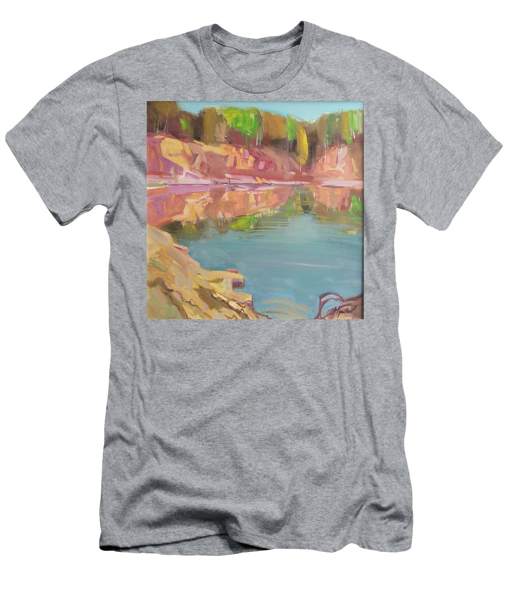 Oil Men's T-Shirt (Athletic Fit) featuring the painting The Quarry by Sergey Ignatenko