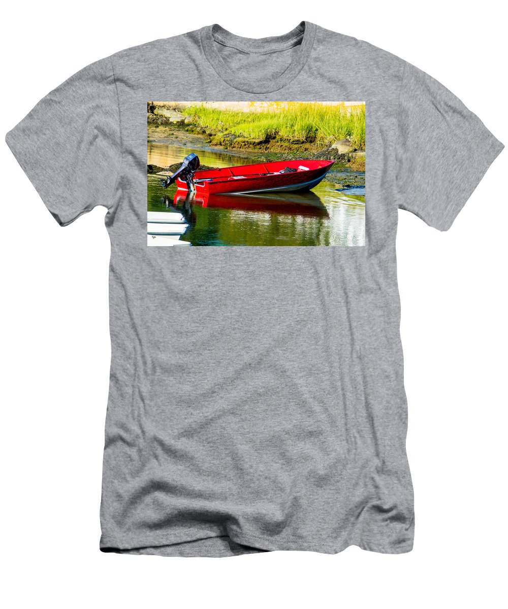 Small Boat Men's T-Shirt (Athletic Fit) featuring the photograph The Red Boat by Dennis Dockham