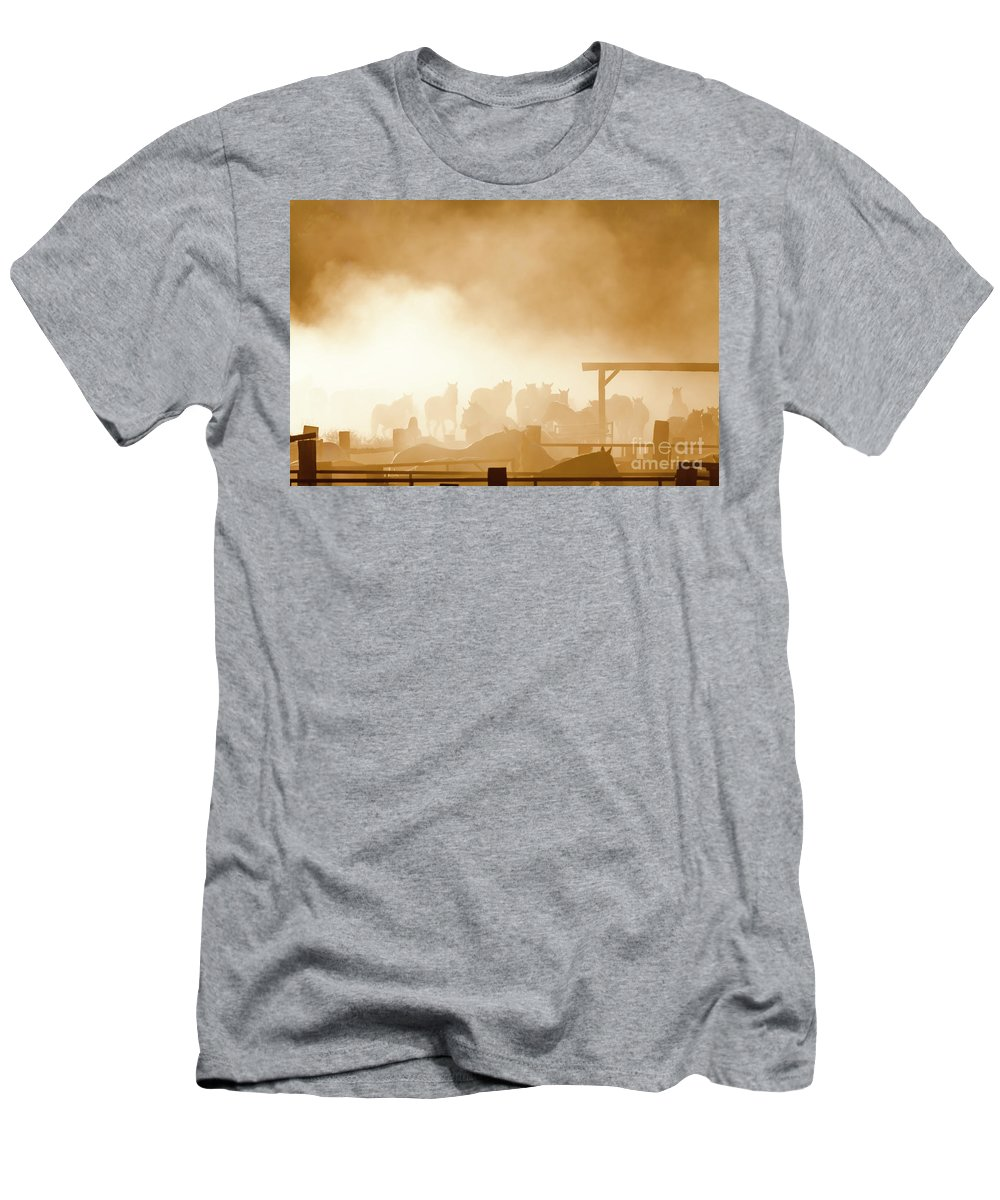 Herd Men's T-Shirt (Athletic Fit) featuring the photograph The Remuda by Daryl L Hunter