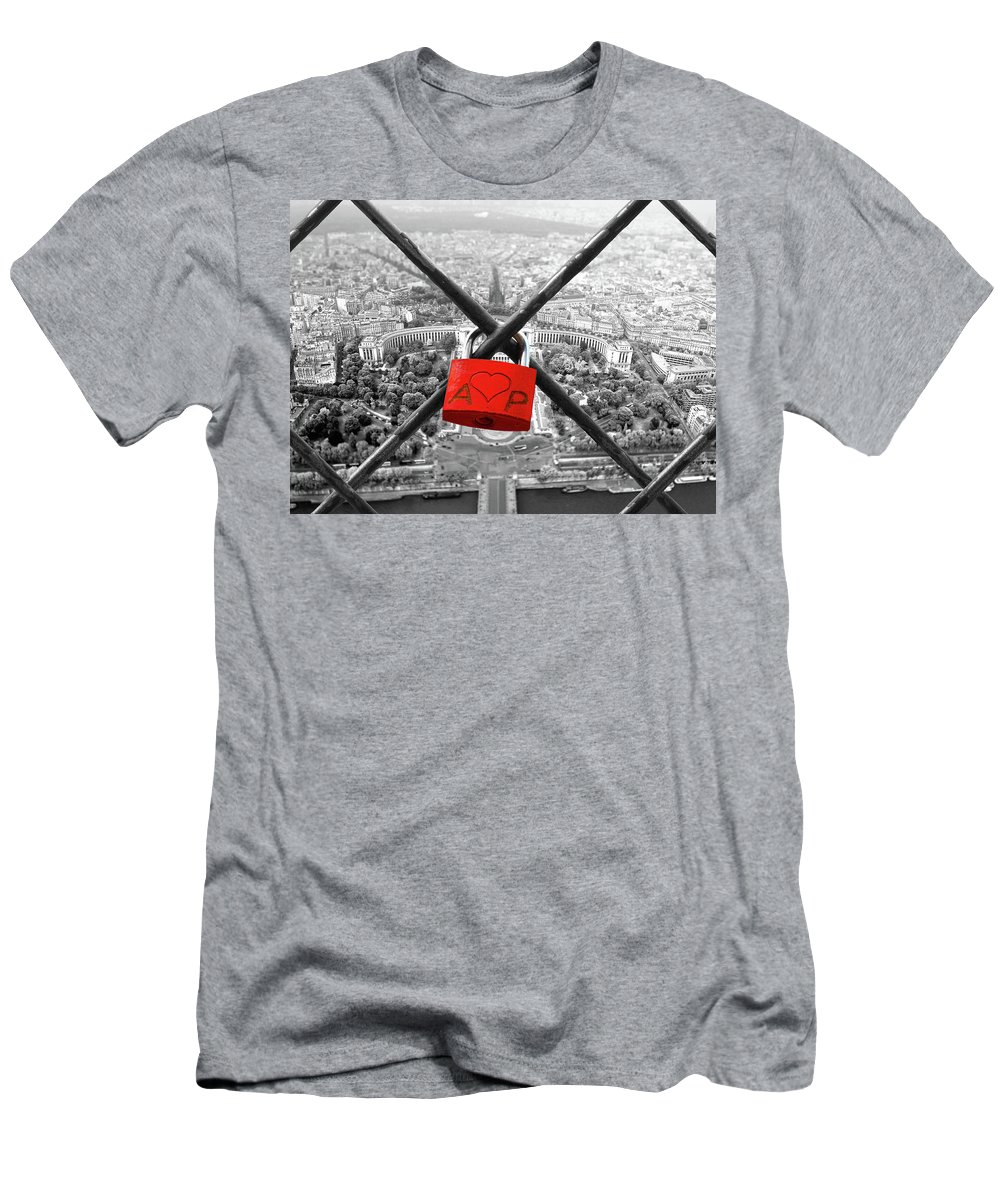 Love Men's T-Shirt (Athletic Fit) featuring the digital art The Romantically Love Inscribed Padlocks On The Eiffel Tower, Pa by Cranach Studio