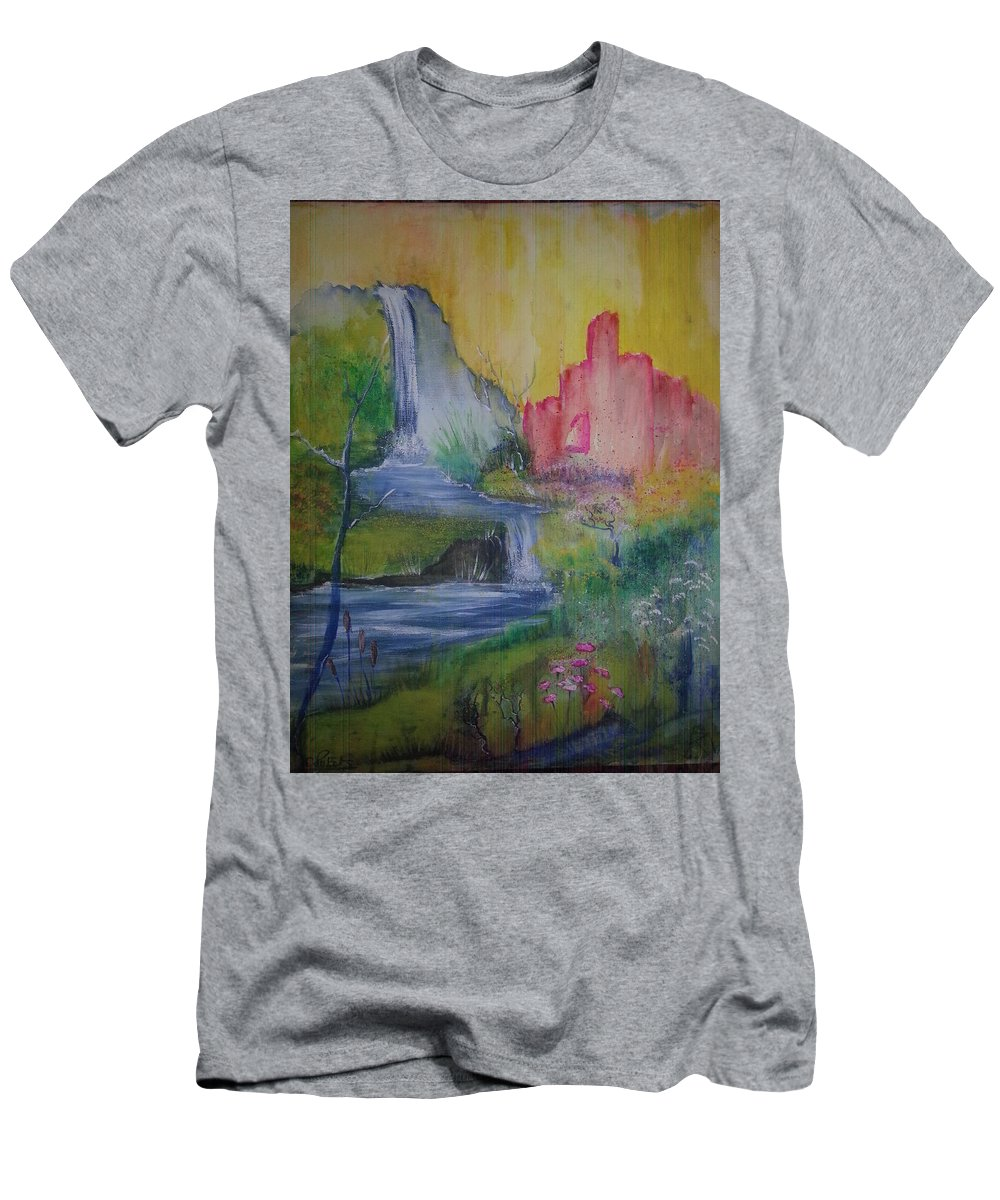 A Landscape Inspired By Old Ruins. Men's T-Shirt (Athletic Fit) featuring the painting The Ruins by Catherine Dixon