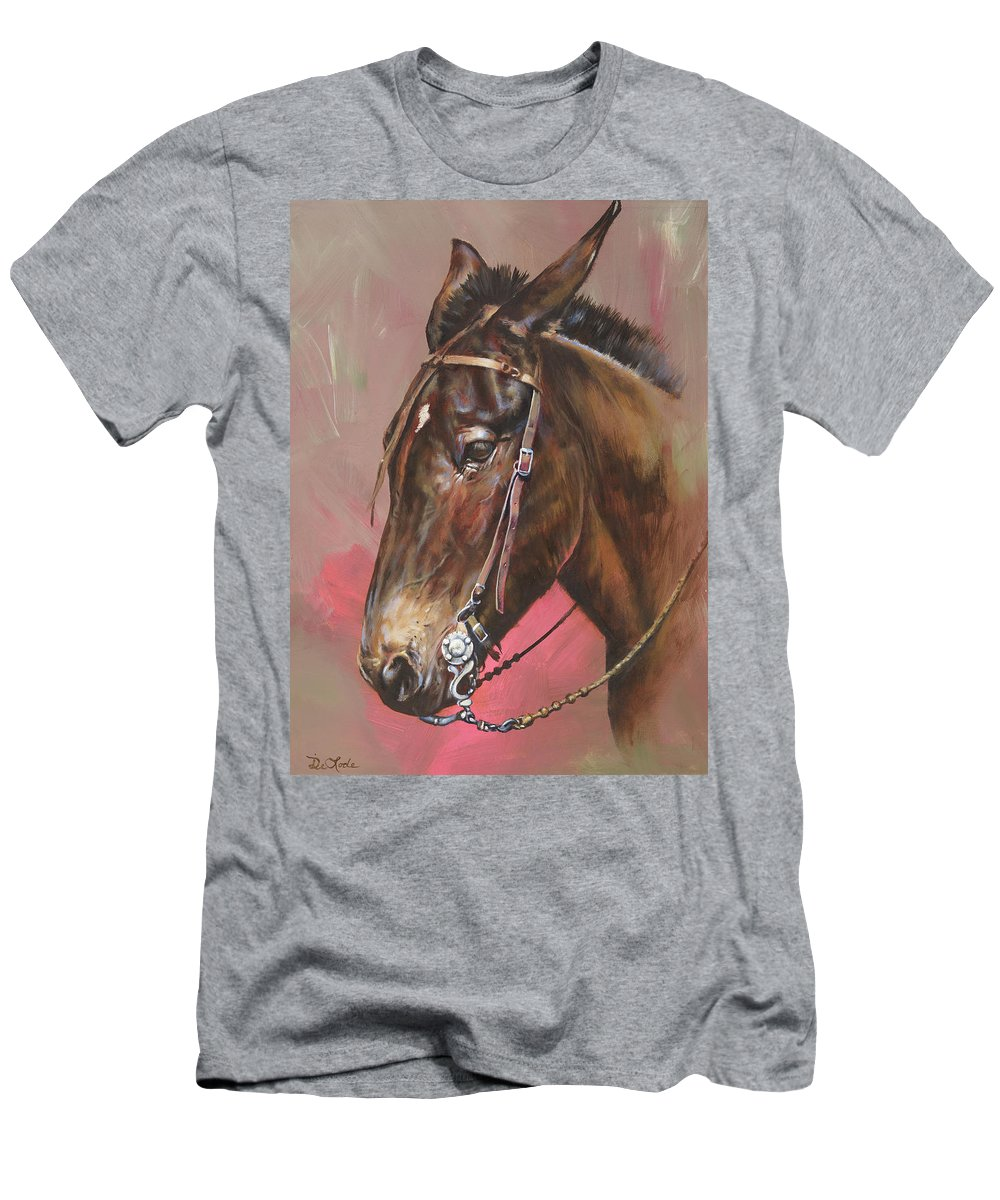 Mules Men's T-Shirt (Athletic Fit) featuring the painting The Spanish Mule by Mia DeLode