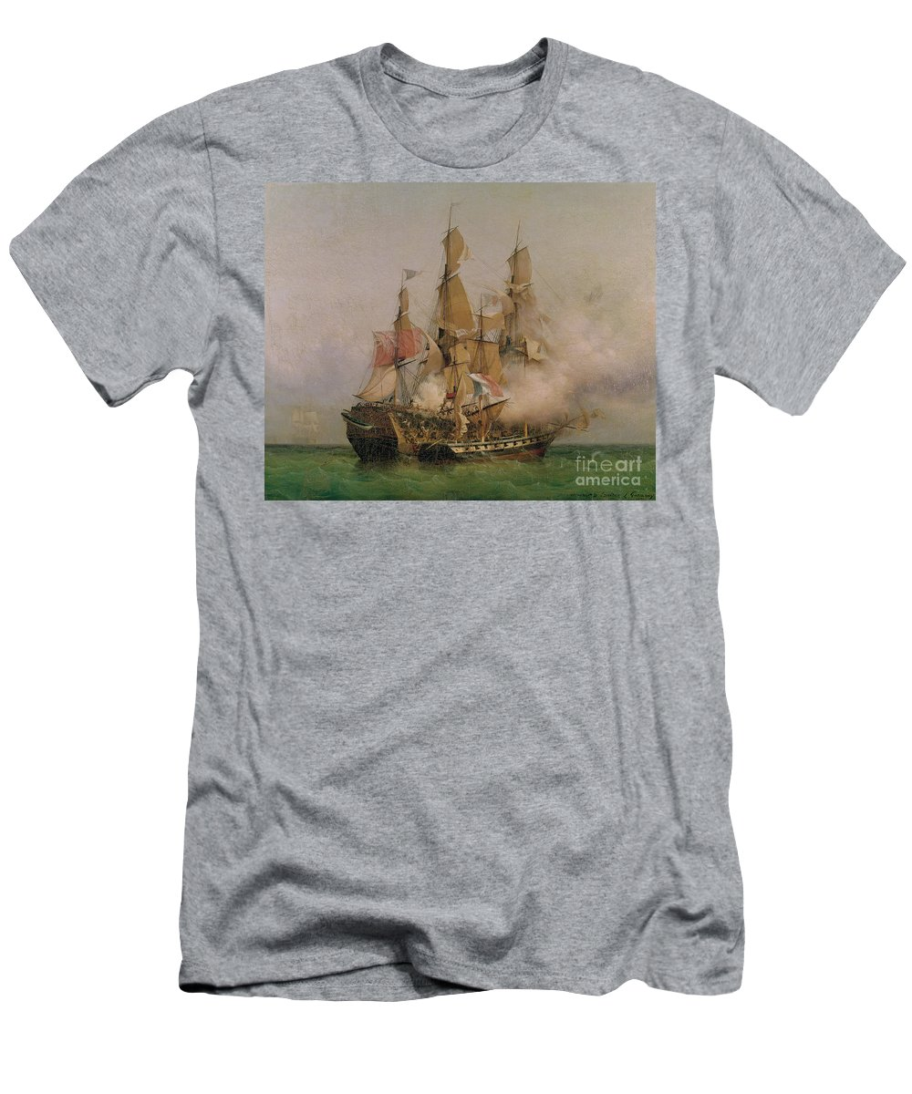 The T-Shirt featuring the painting The Taking Of The Kent by Ambroise Louis Garneray