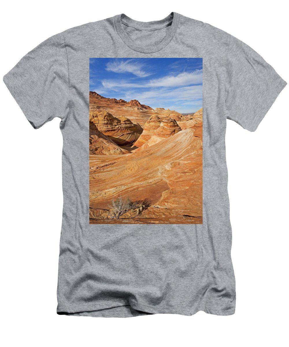 The Wave Rock Men's T-Shirt (Athletic Fit) featuring the photograph The Top Of The Wave by Mike Dawson