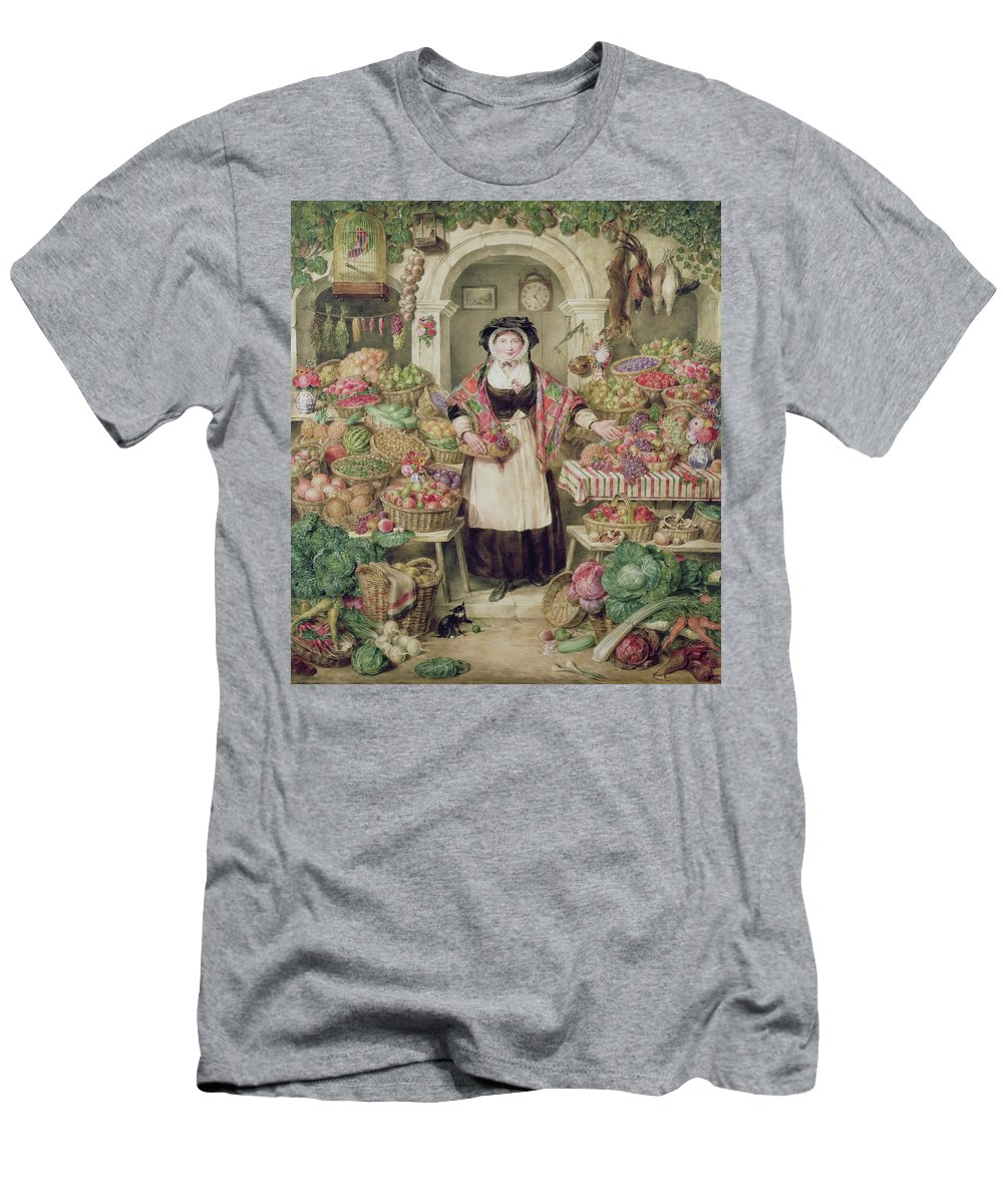 Fruit Men's T-Shirt (Athletic Fit) featuring the painting The Vegetable Stall by Thomas Frank Heaphy