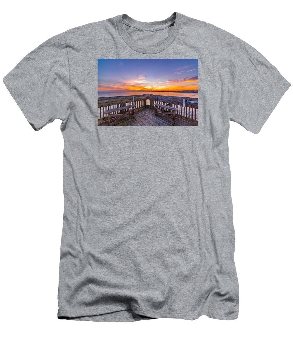 Folly Beach Men's T-Shirt (Athletic Fit) featuring the photograph The View Folly Beach Sc by Donnie Whitaker
