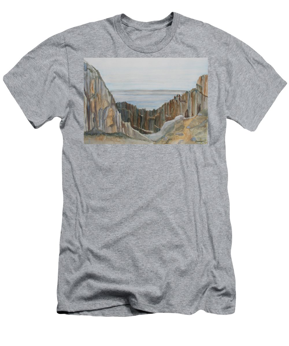 Ocean Men's T-Shirt (Athletic Fit) featuring the painting The Whale Watchers At Elephant Rock by Jenny Armitage
