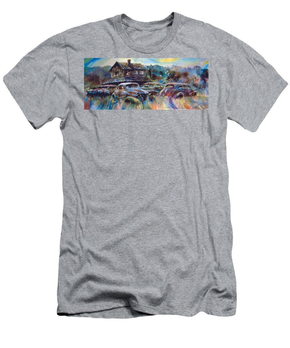Old Rusty Dilapidated Cars House T-Shirt featuring the painting The Wide Spread by Ron Morrison