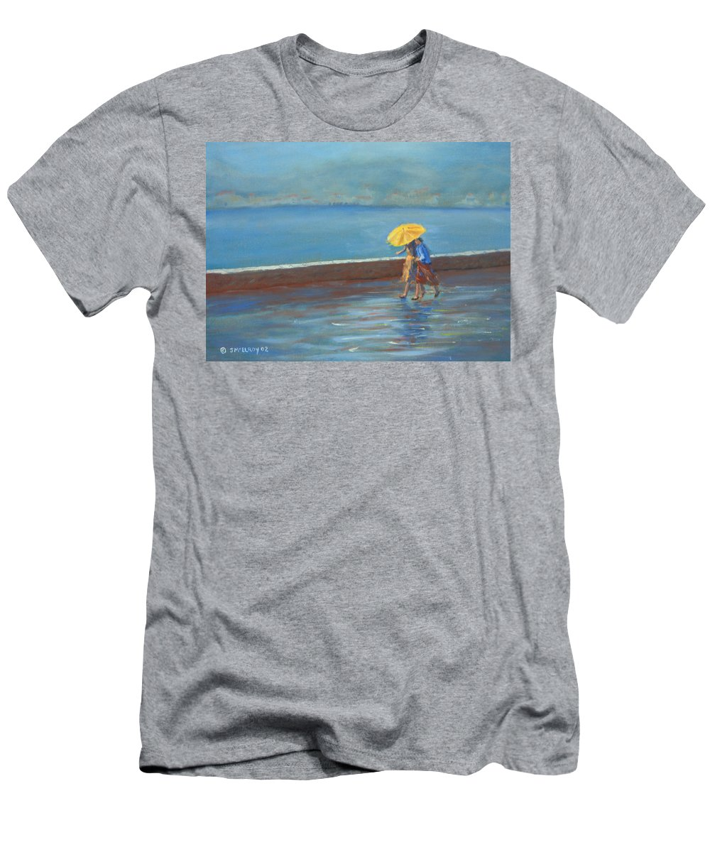 Rain Men's T-Shirt (Athletic Fit) featuring the painting The Yellow Umbrella by Jerry McElroy