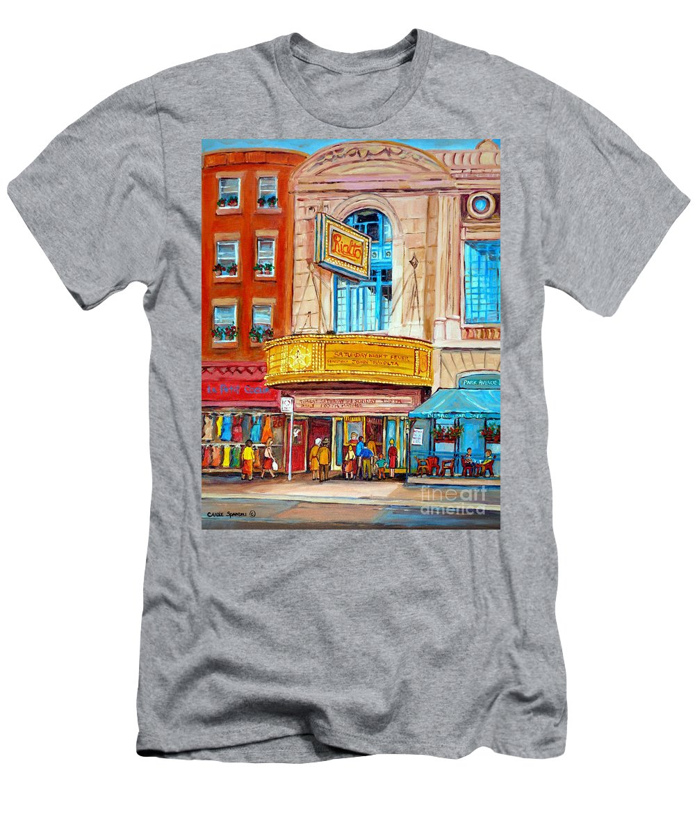 Montreal Men's T-Shirt (Athletic Fit) featuring the painting Theatre Rialto Ave. Du Parc Montreal by Carole Spandau