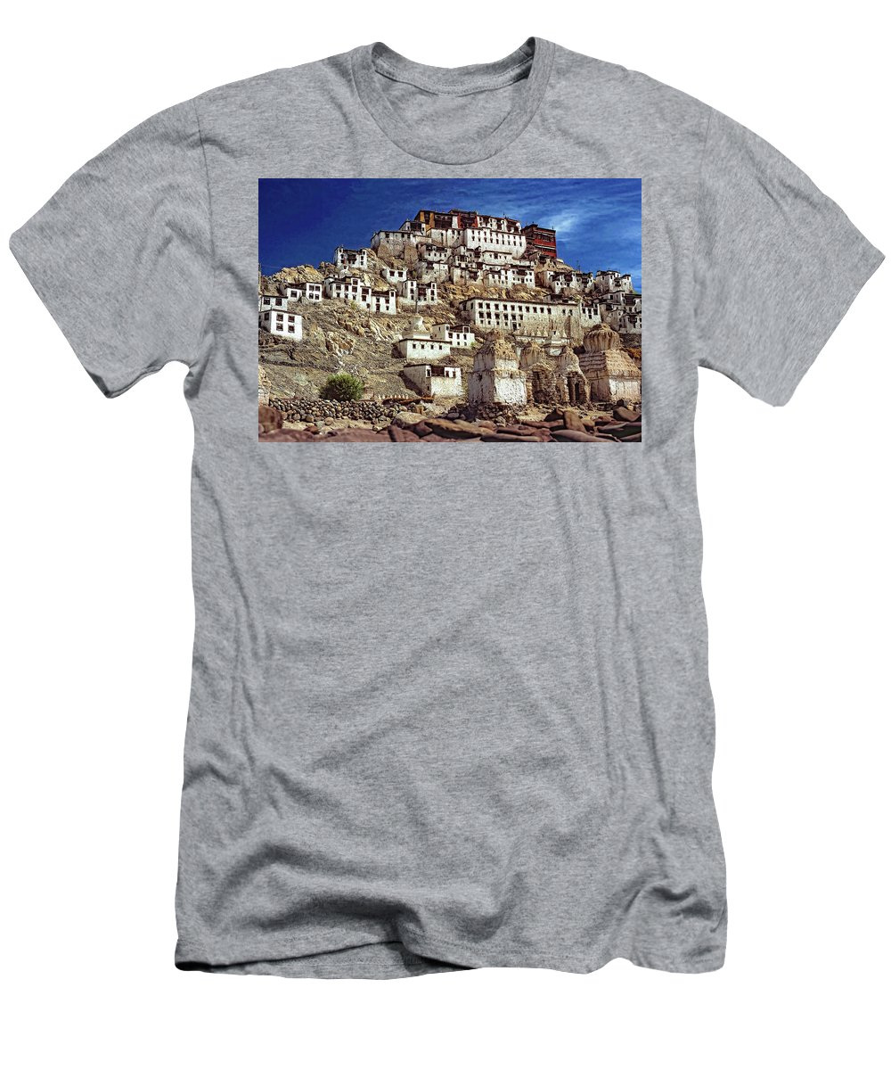 Ladakh Men's T-Shirt (Athletic Fit) featuring the photograph Thiksey Monastery by Steve Harrington