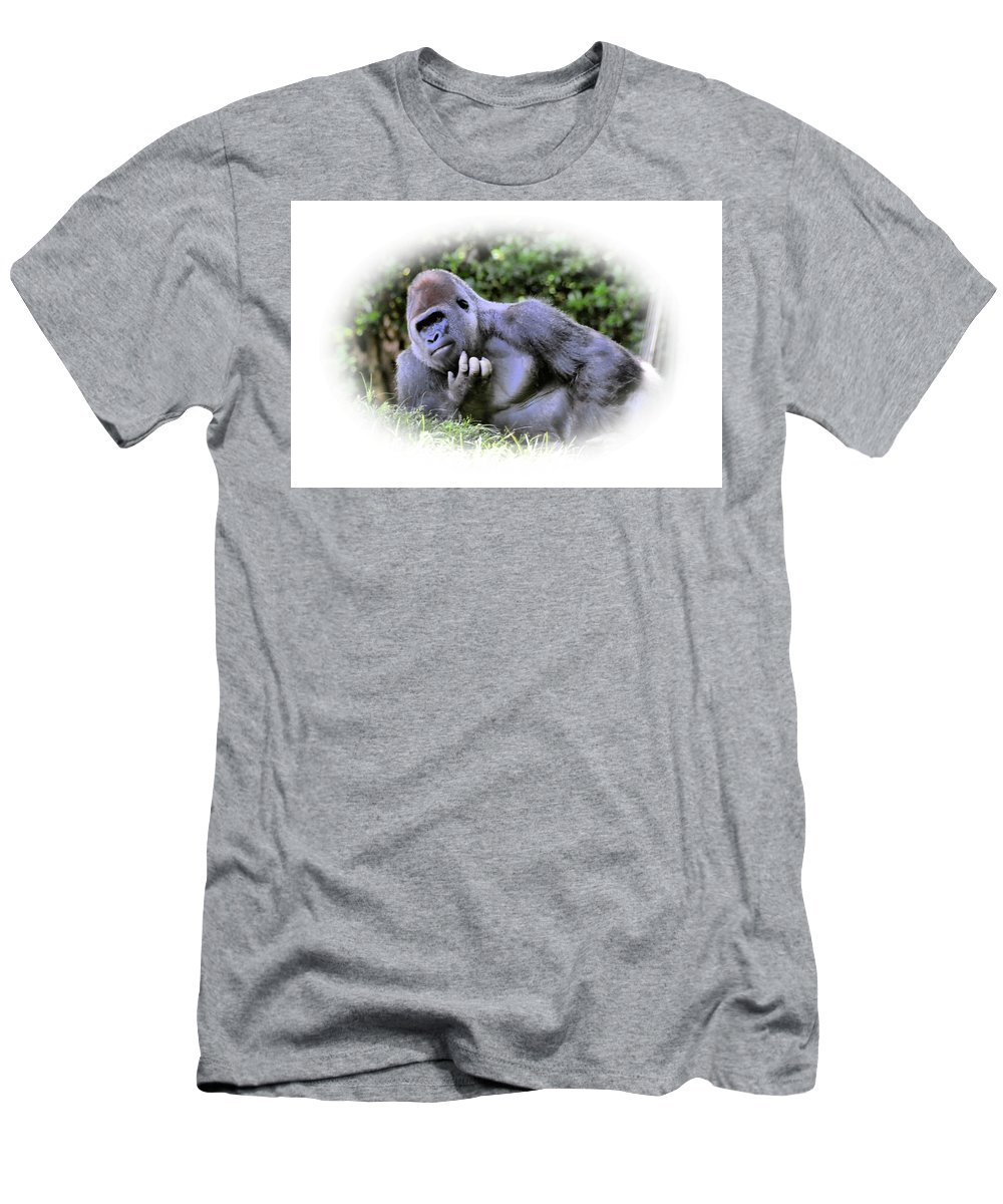 Gorilla Men's T-Shirt (Athletic Fit) featuring the photograph Thinking by Mike Fairchild