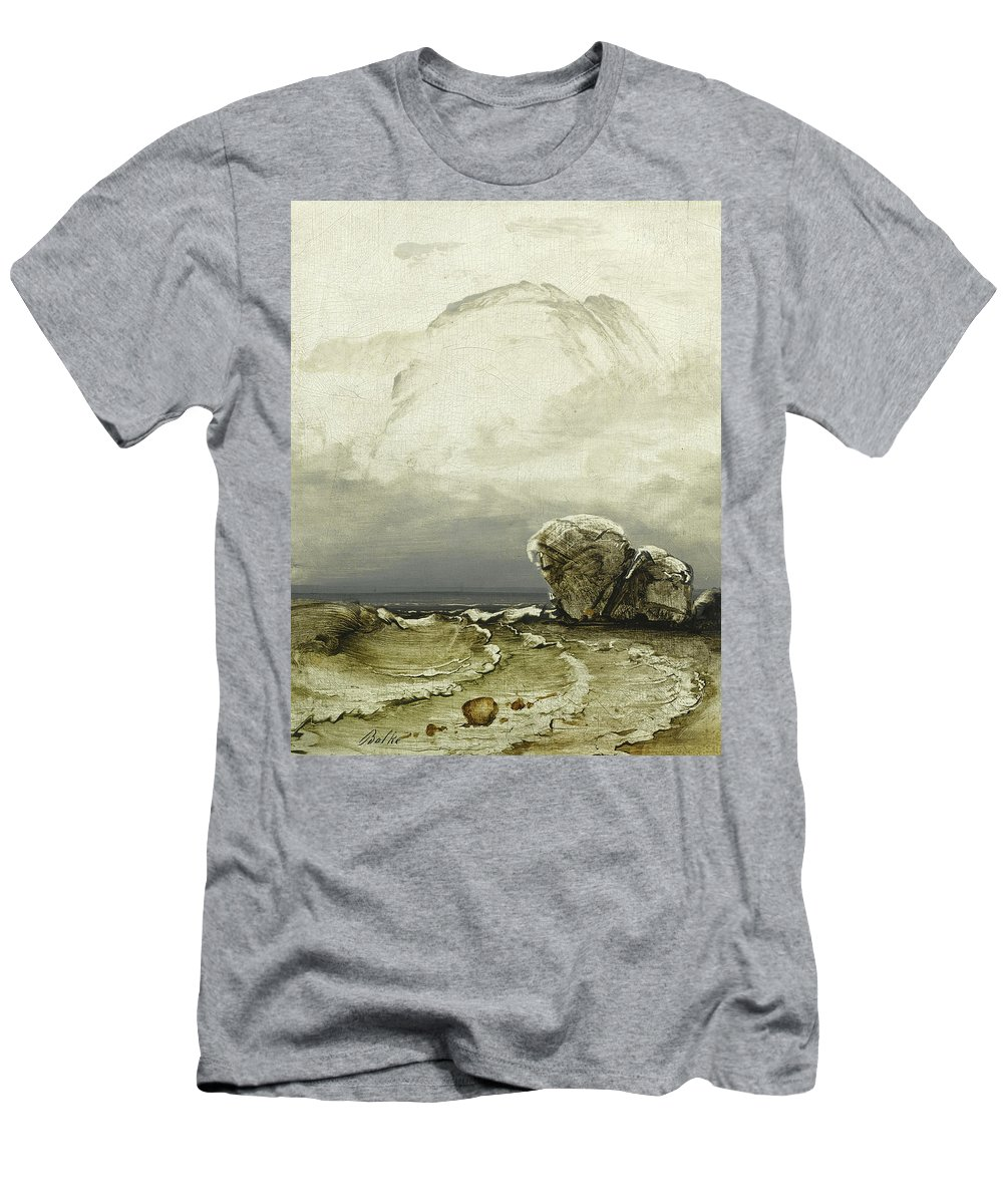 Peder Balke Men's T-Shirt (Athletic Fit) featuring the painting Threatening Weather by Peder Balke