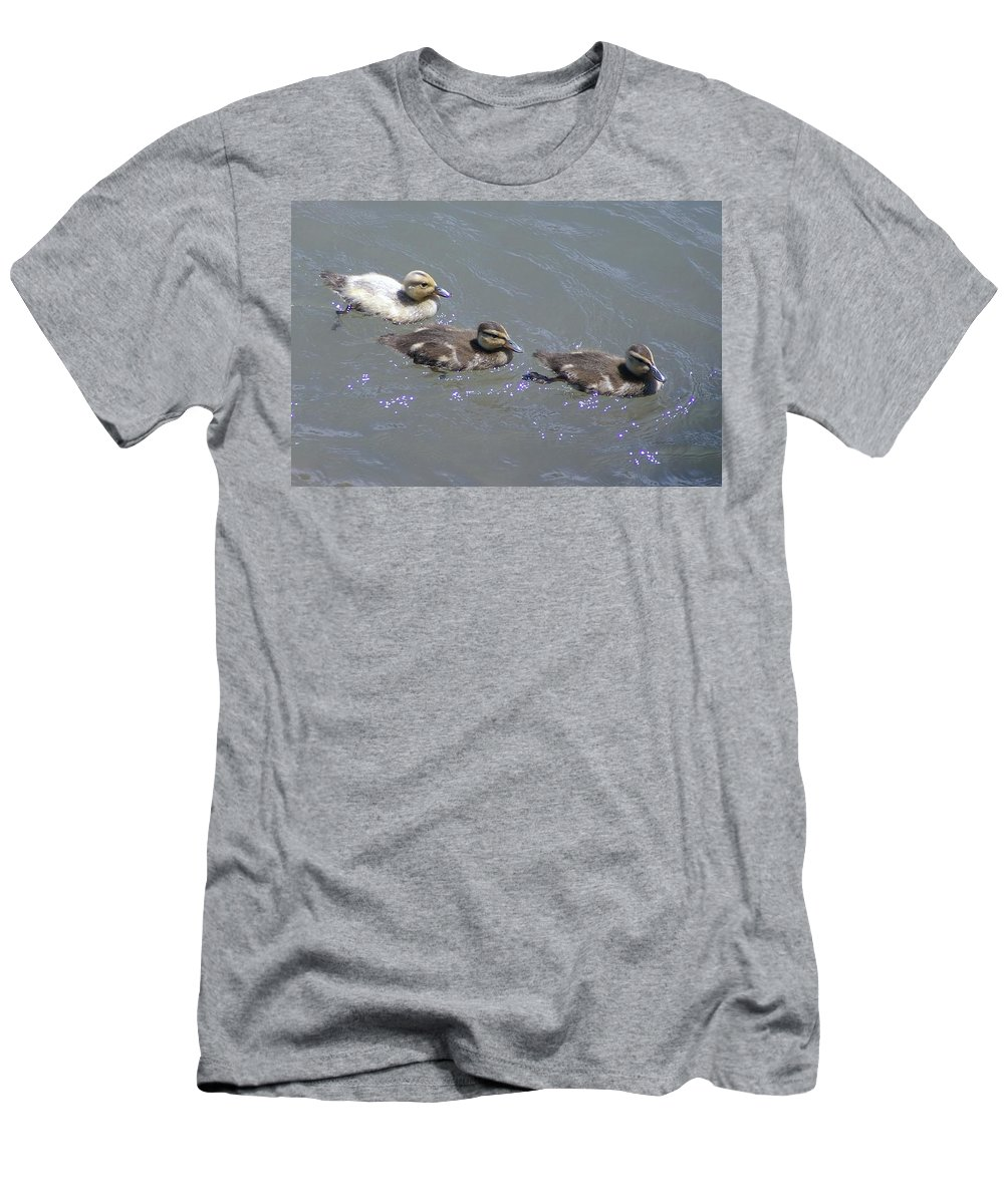Fowl Men's T-Shirt (Athletic Fit) featuring the photograph Three Duckies by Jeff Swan