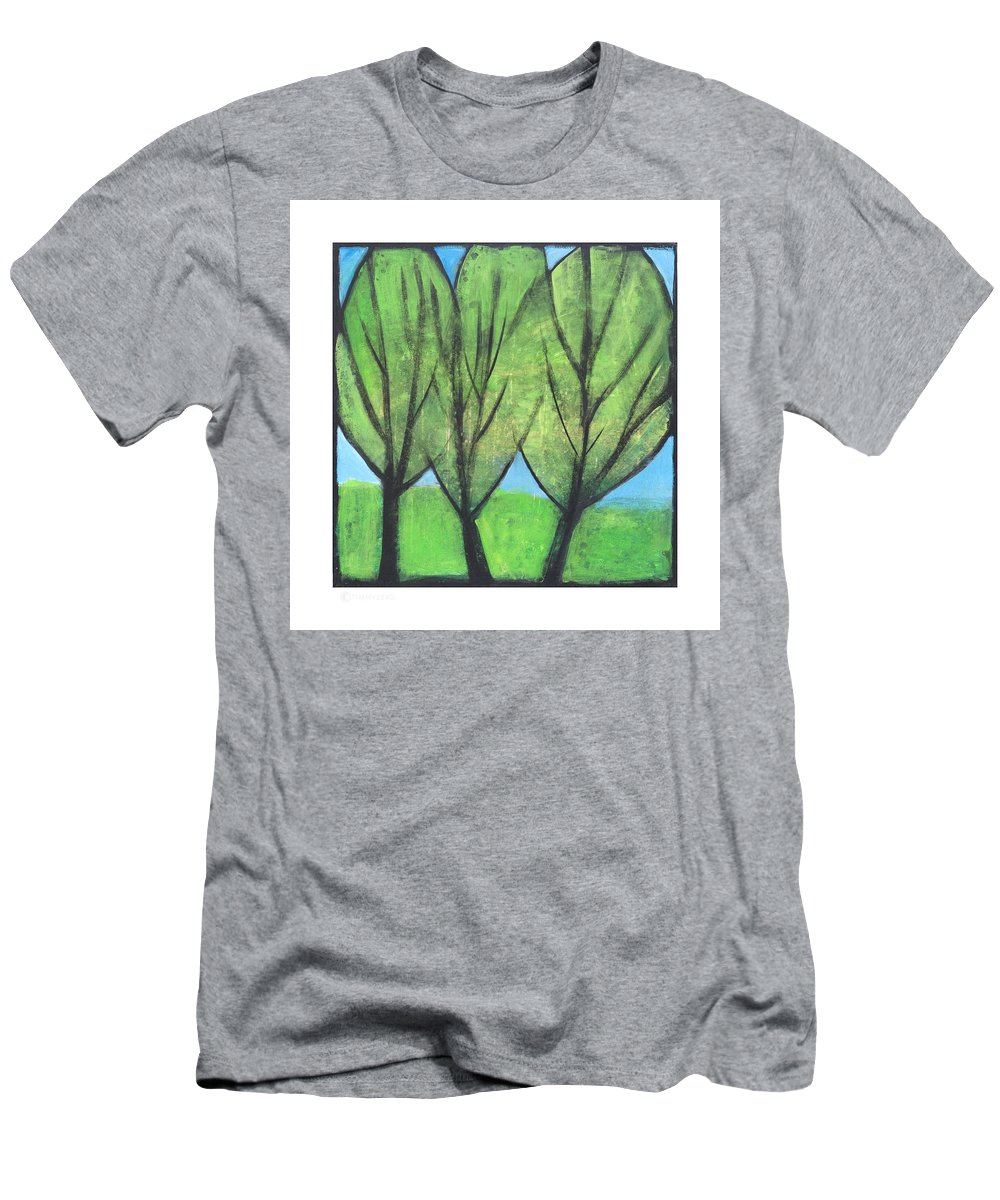 Trees Men's T-Shirt (Athletic Fit) featuring the painting Three Sisters by Tim Nyberg