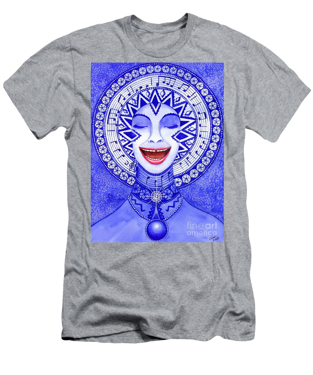 Chakra Men's T-Shirt (Athletic Fit) featuring the painting Throat Chakra by Catherine G McElroy