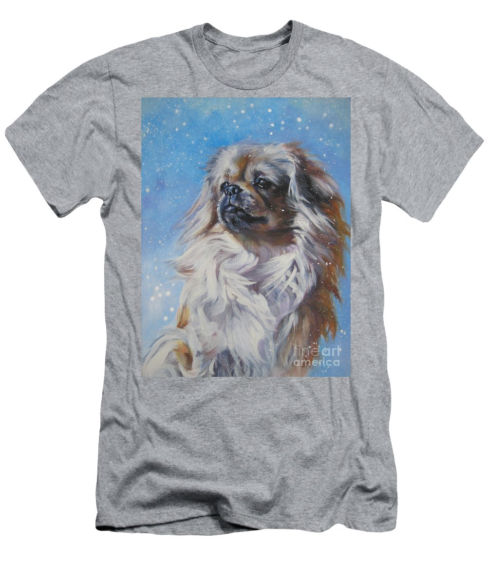 Dog Men's T-Shirt (Athletic Fit) featuring the painting Tibetan Spaniel In Snow by Lee Ann Shepard