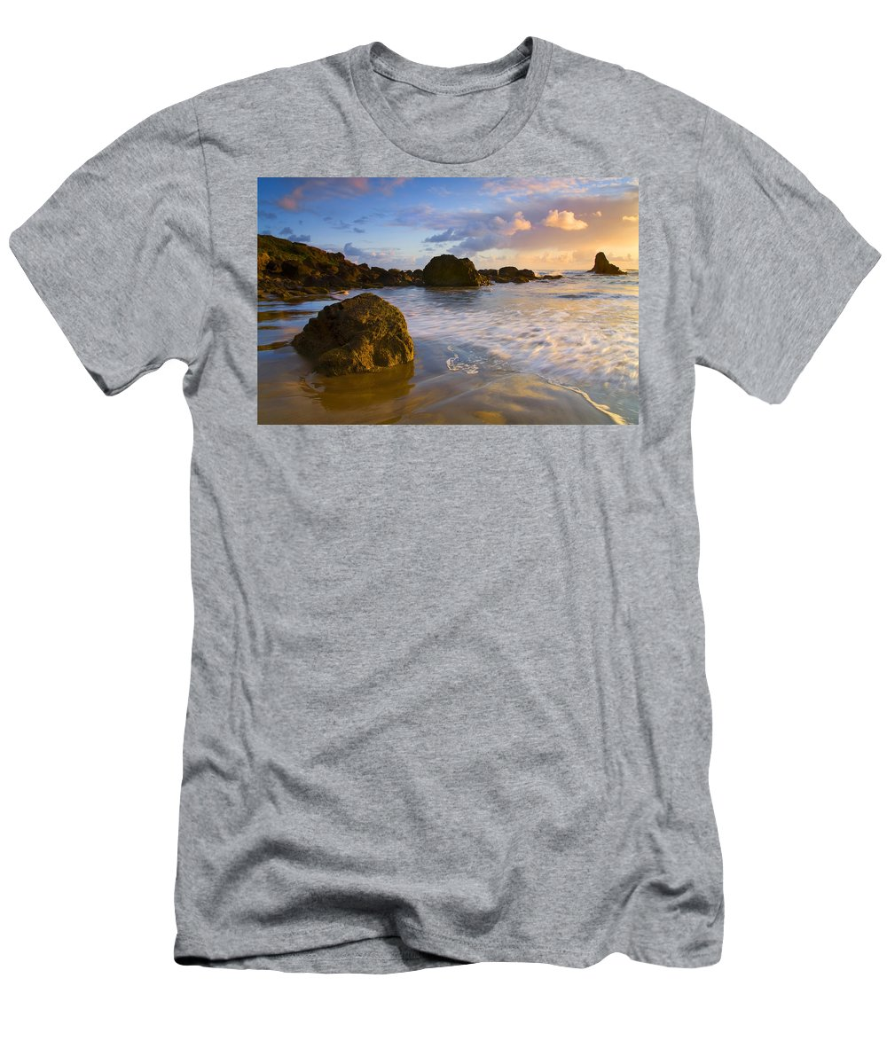 Beach Men's T-Shirt (Athletic Fit) featuring the photograph Tidal Flow by Mike Dawson