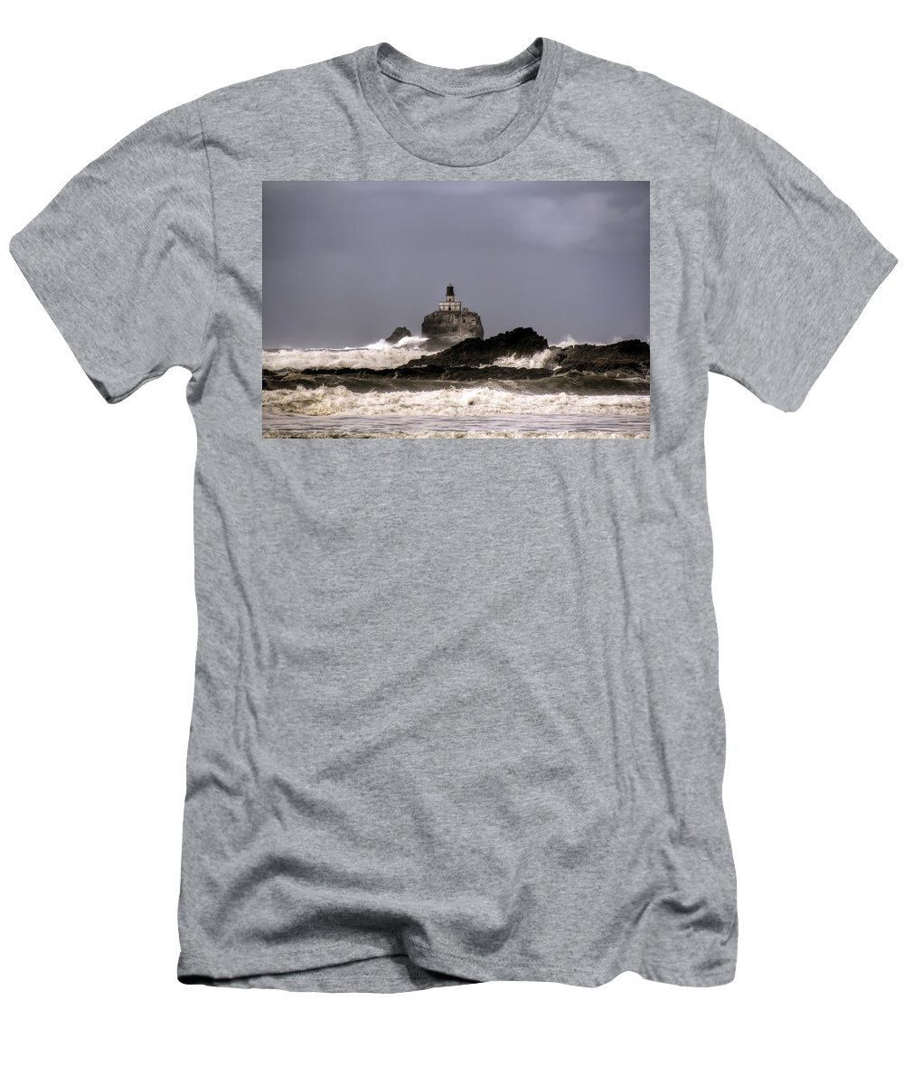 Hdr Men's T-Shirt (Athletic Fit) featuring the photograph Tillamook Lighthouse by Brad Granger