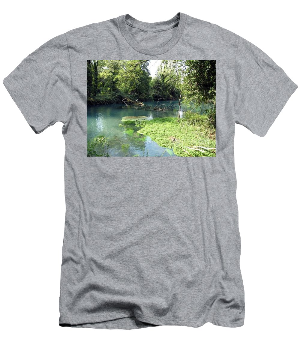 River Men's T-Shirt (Athletic Fit) featuring the photograph Timava's Spring II by Dragica Micki Fortuna