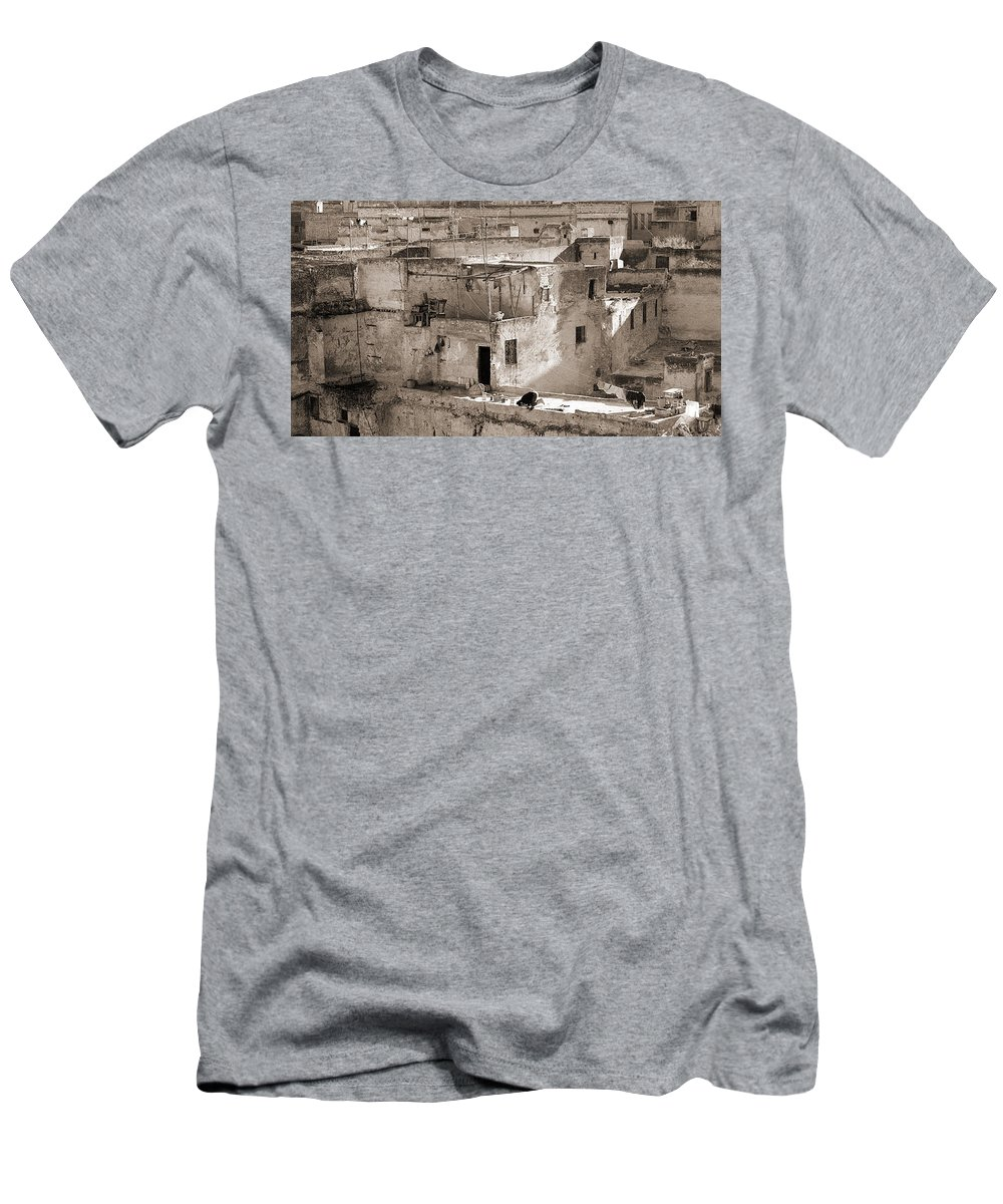 Black&white Men's T-Shirt (Athletic Fit) featuring the photograph To Praying In Fez - Morocco by Enrique Crusellas