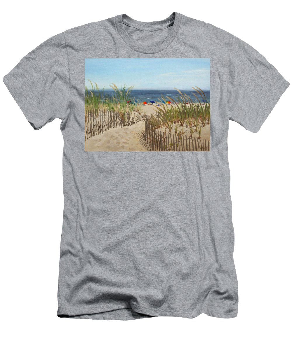 Beach Men's T-Shirt (Athletic Fit) featuring the painting To The Beach by Lea Novak