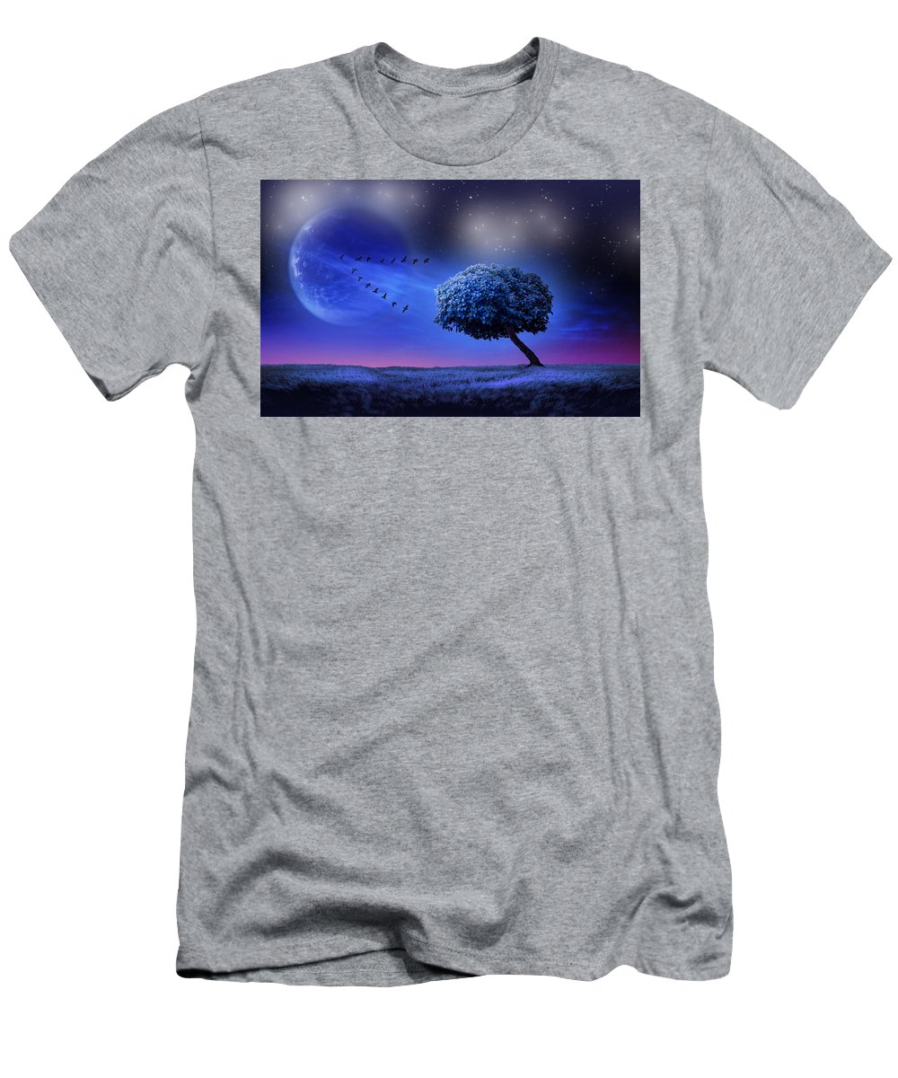 Moon.nasser Osman.digital Art Men's T-Shirt (Athletic Fit) featuring the digital art To The Moon by Nasser Osman