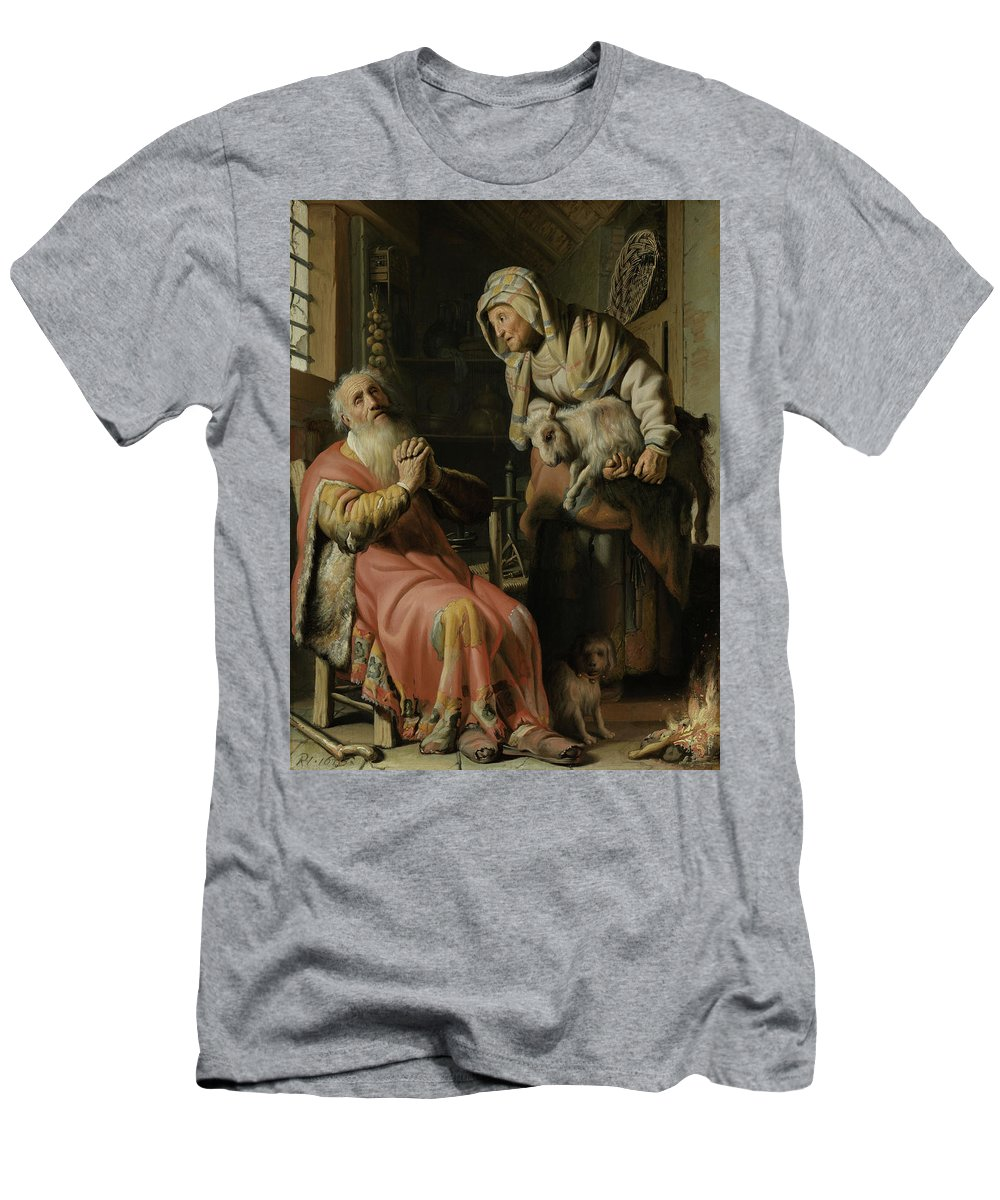 Painting Men's T-Shirt (Athletic Fit) featuring the painting Tobit And Anna With The Kid by Mountain Dreams
