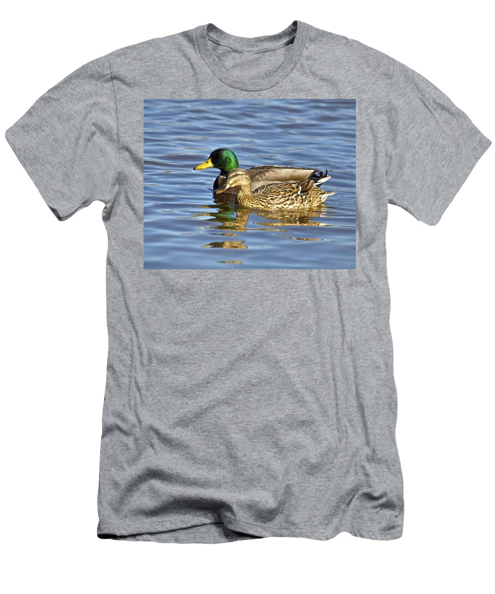 Duck Men's T-Shirt (Athletic Fit) featuring the photograph Togetherness by Robert Pearson