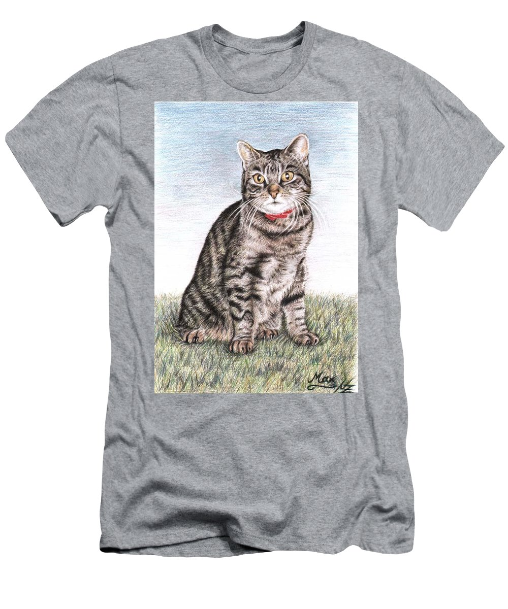 Cat Men's T-Shirt (Athletic Fit) featuring the drawing Tomcat Max by Nicole Zeug