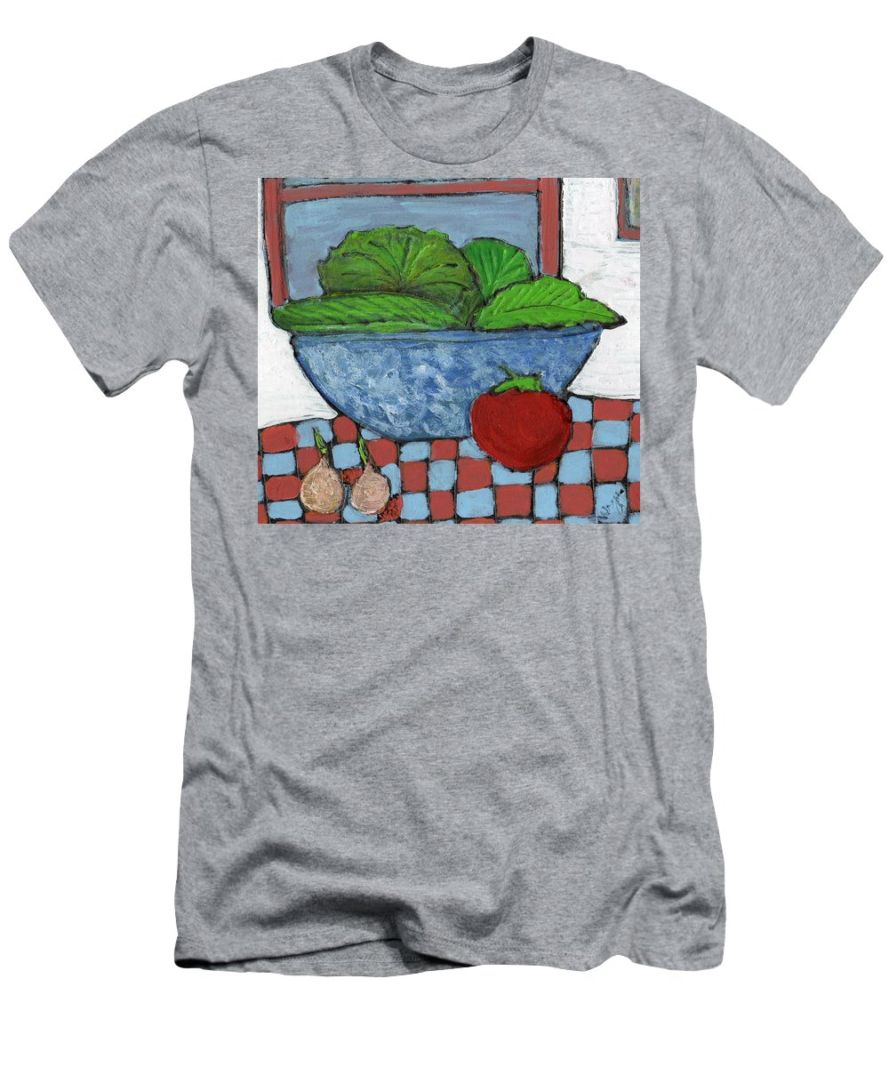 Food Men's T-Shirt (Athletic Fit) featuring the painting Tonight's Salad by Wayne Potrafka
