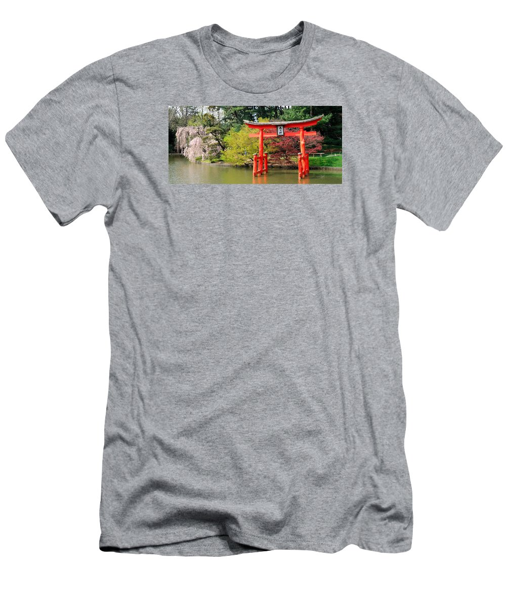 Brooklyn Men's T-Shirt (Athletic Fit) featuring the photograph Torii And Cherry Blossoms by Soon Ming Tsang