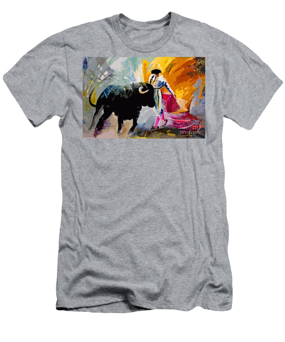 Toros Men's T-Shirt (Athletic Fit) featuring the mixed media Toroscape 03 by Miki De Goodaboom
