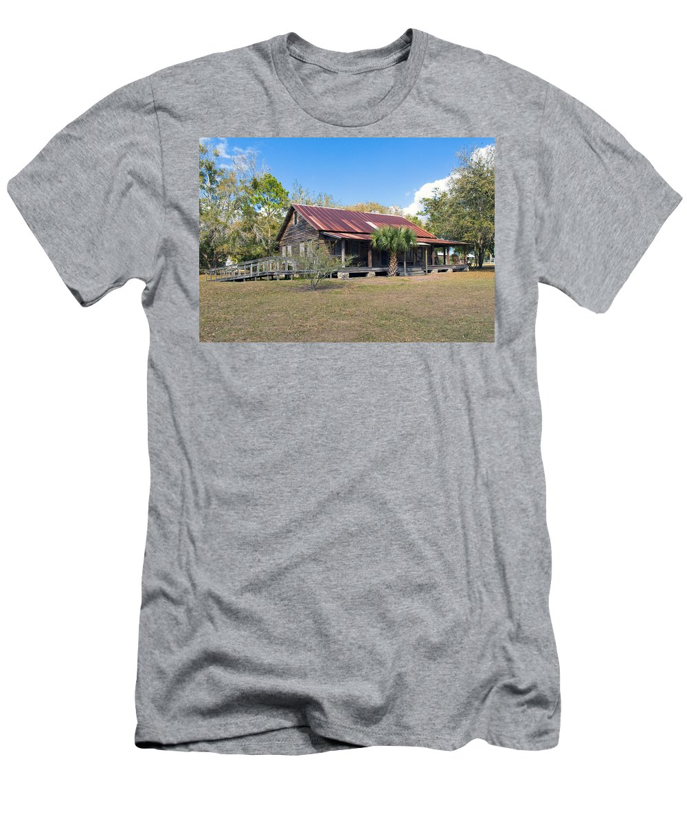 Florida; Ranch; Cattle; Central; Tosohatchee; Beehead; Beehive; Tree; Bee; Honey; Cracker; Cow; Cowb Men's T-Shirt (Athletic Fit) featuring the photograph Tosohatchee Cattle Ranch In Central Florida by Allan Hughes