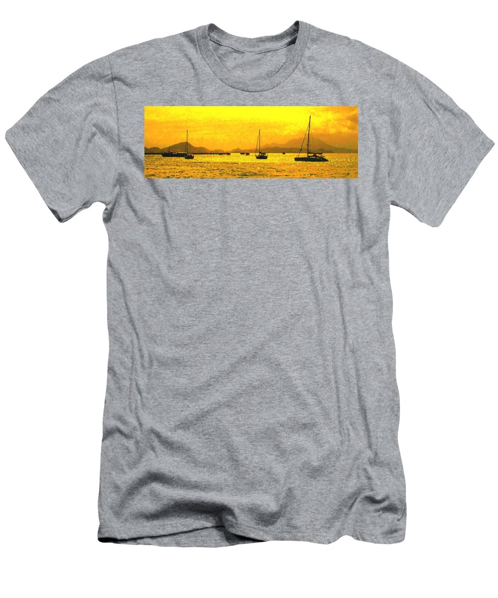 Basseterre Men's T-Shirt (Athletic Fit) featuring the photograph Towards Nevis by Ian MacDonald