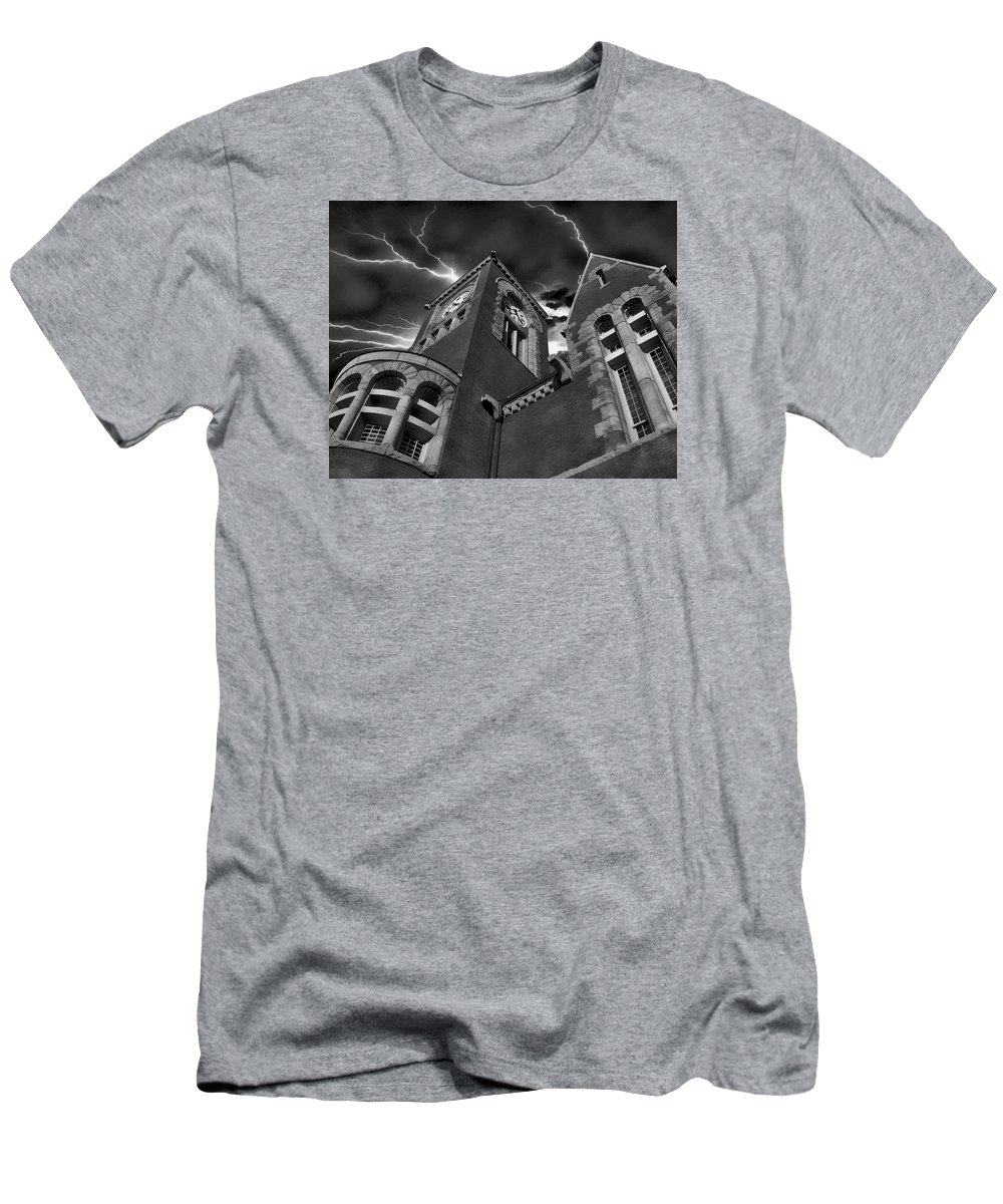 Black And White Men's T-Shirt (Athletic Fit) featuring the photograph Town Hall Perspective by Anthony Dezenzio