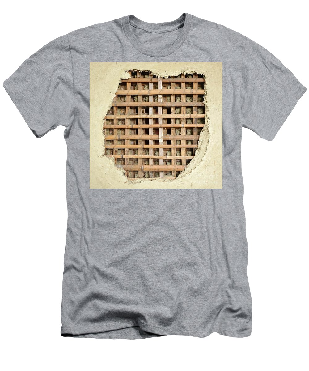 Wall Men's T-Shirt (Athletic Fit) featuring the photograph Traditional Bamboo Mud Wall Construction by Yali Shi