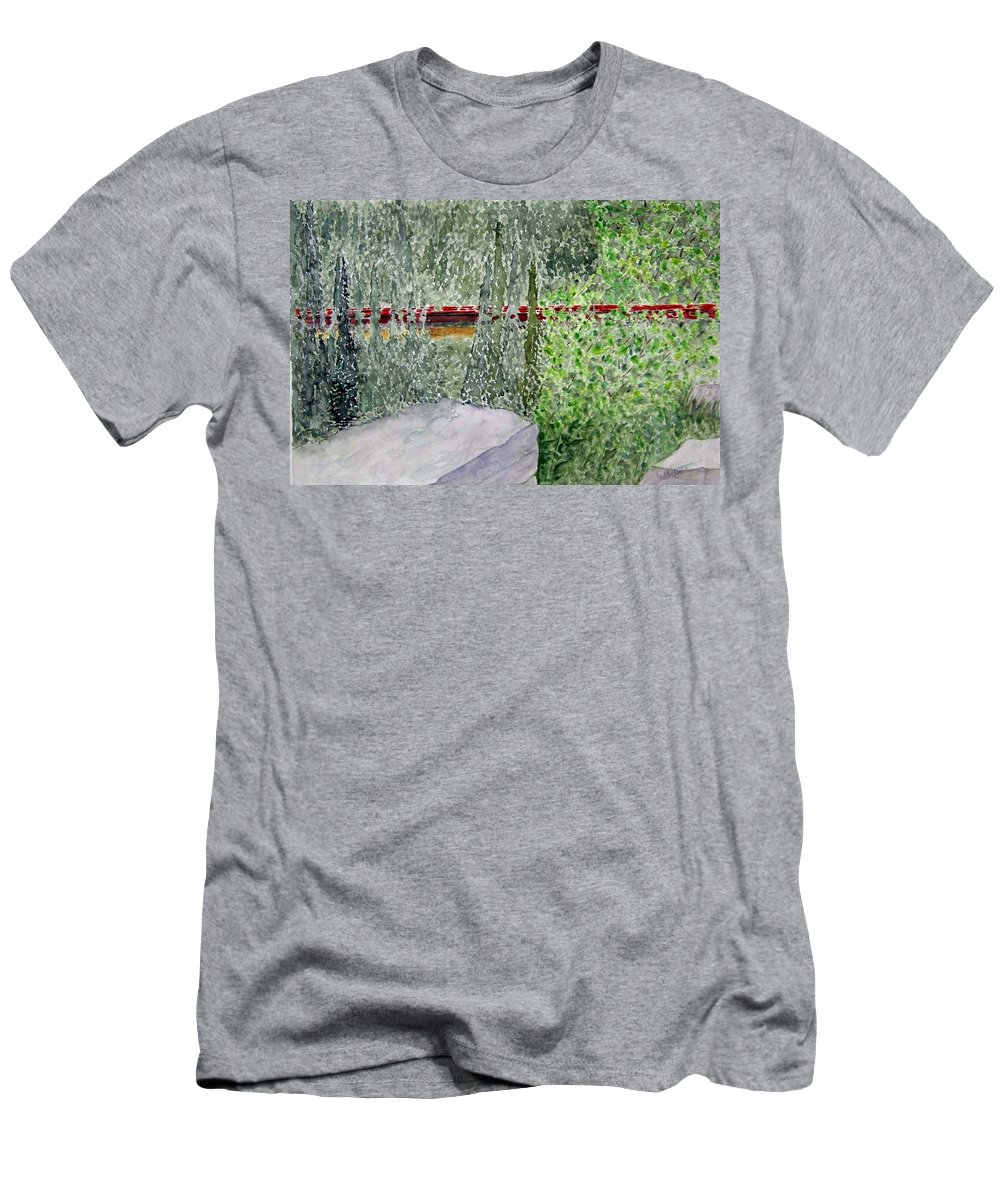 Train Art Men's T-Shirt (Athletic Fit) featuring the painting Train Spotting by Larry Wright