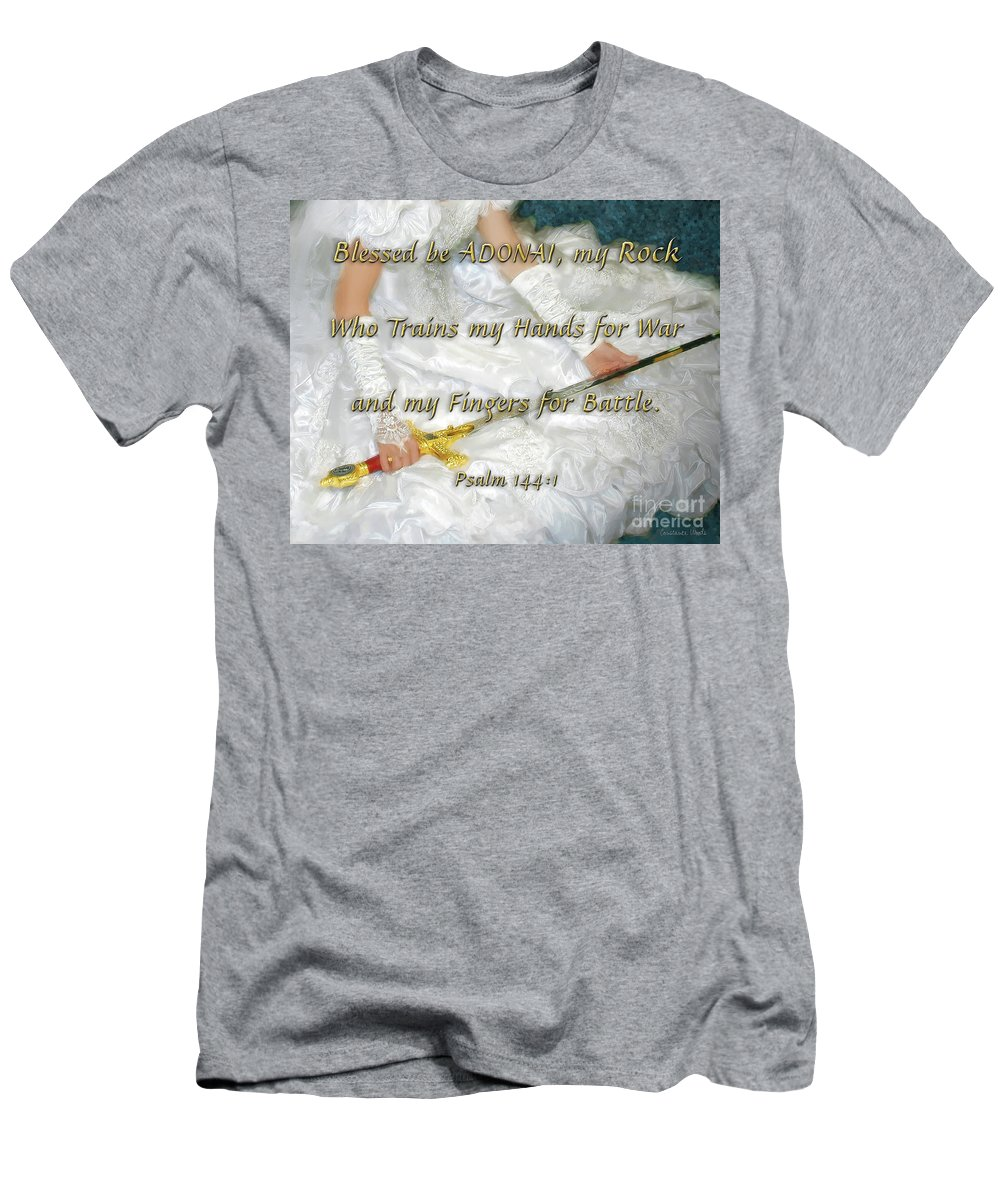 Prophetic Art Men's T-Shirt (Athletic Fit) featuring the painting Trained For Battle by Constance Woods