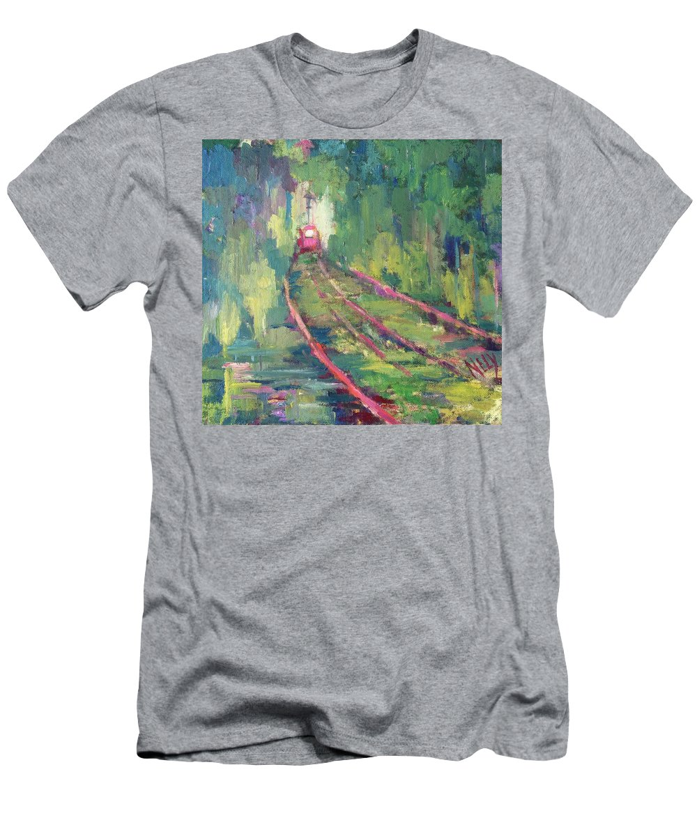 Tram Men's T-Shirt (Athletic Fit) featuring the painting Pink Tram by Nelya Pinchuk