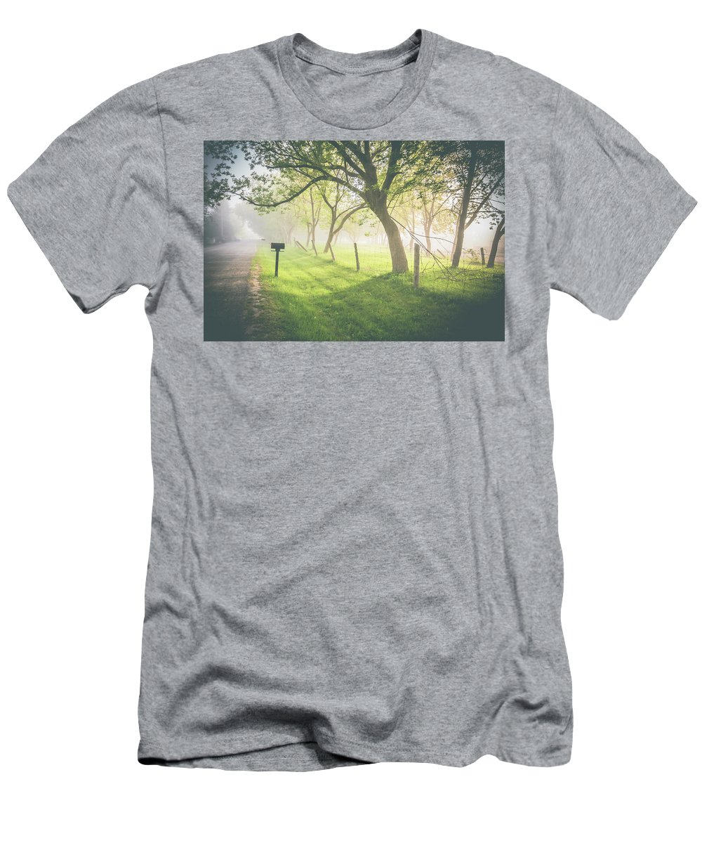 Morning Men's T-Shirt (Athletic Fit) featuring the photograph Tranquility by Wanida Bradbury