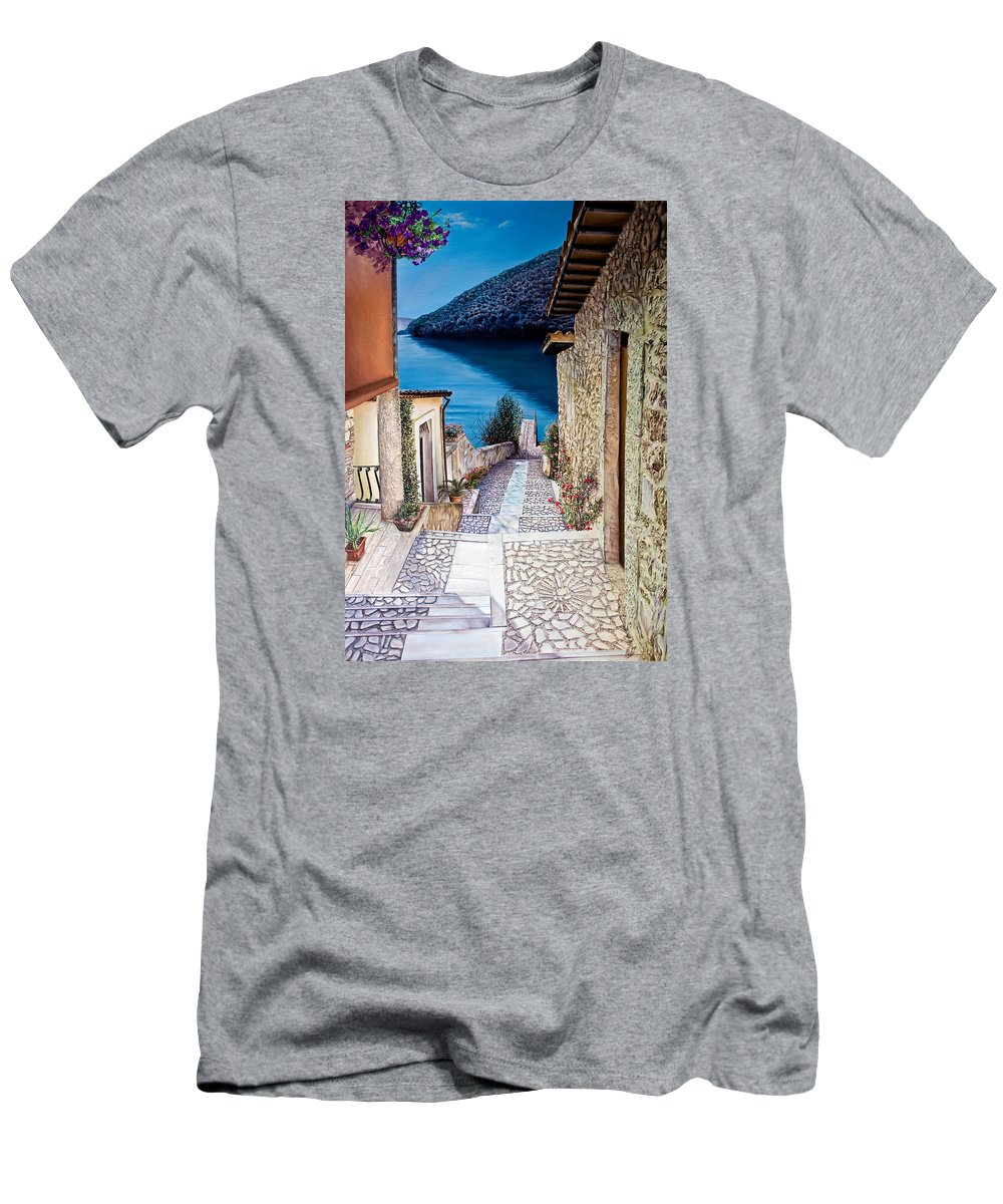 Skies Men's T-Shirt (Athletic Fit) featuring the painting Tranquillity by Michel Angelo Rossi
