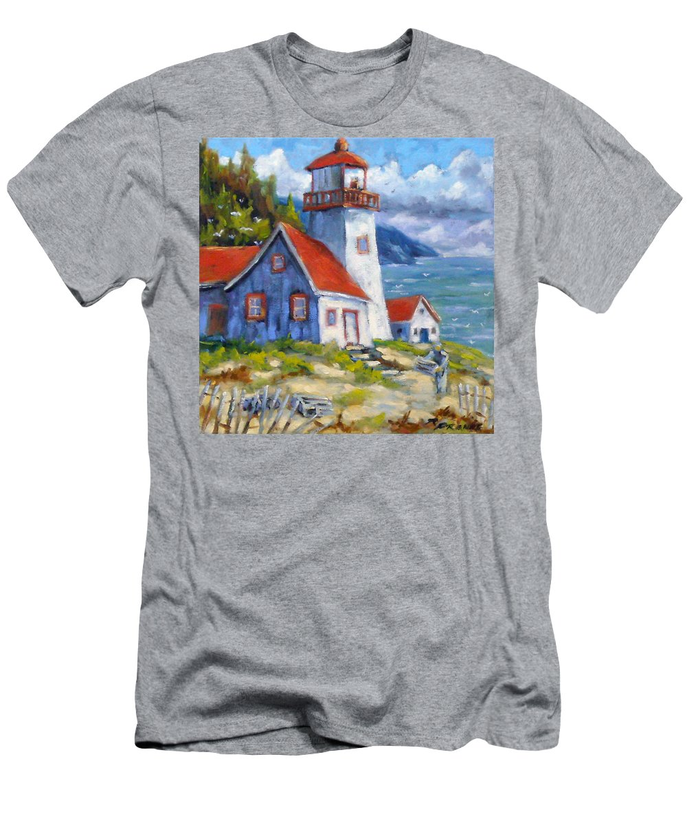 Art Men's T-Shirt (Athletic Fit) featuring the painting Traps And Lighthouse by Richard T Pranke