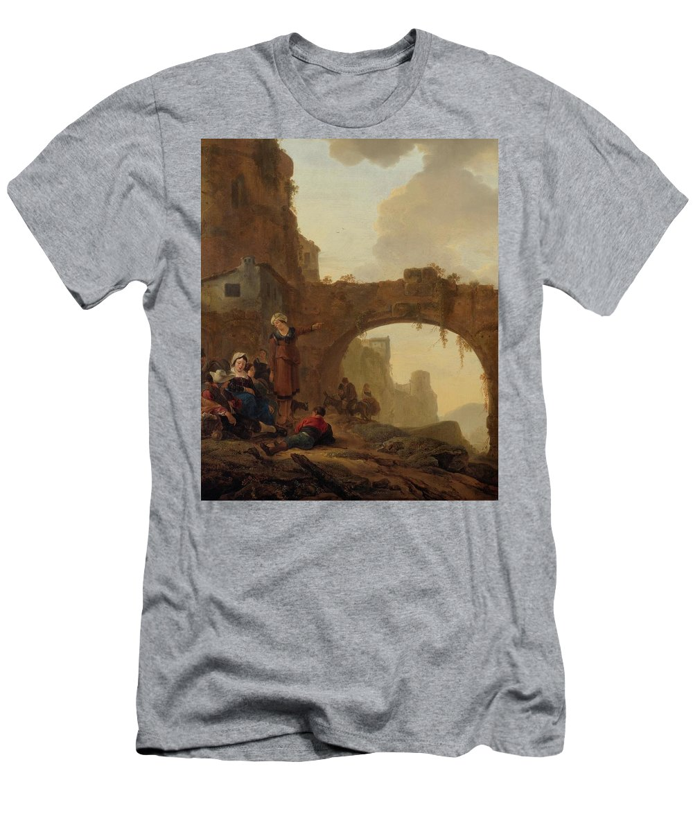 Wijck Men's T-Shirt (Athletic Fit) featuring the painting Travellers At Rest by MotionAge Designs